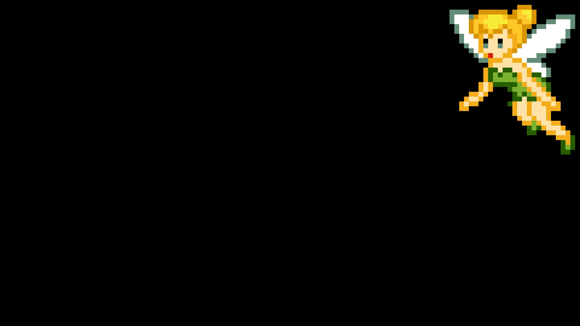 デスクトップ壁紙 ピクセルアート ティンカーベル ピーターパン