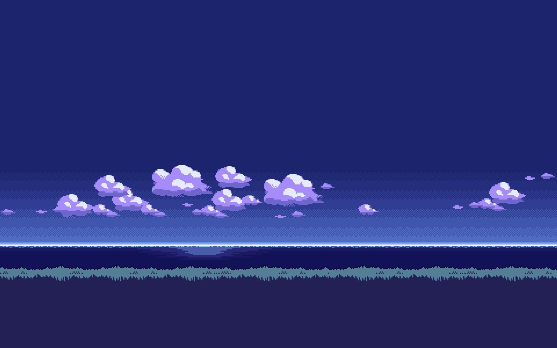 Wallpaper : pixel art, sky, moonlight, 8 bit, cloud