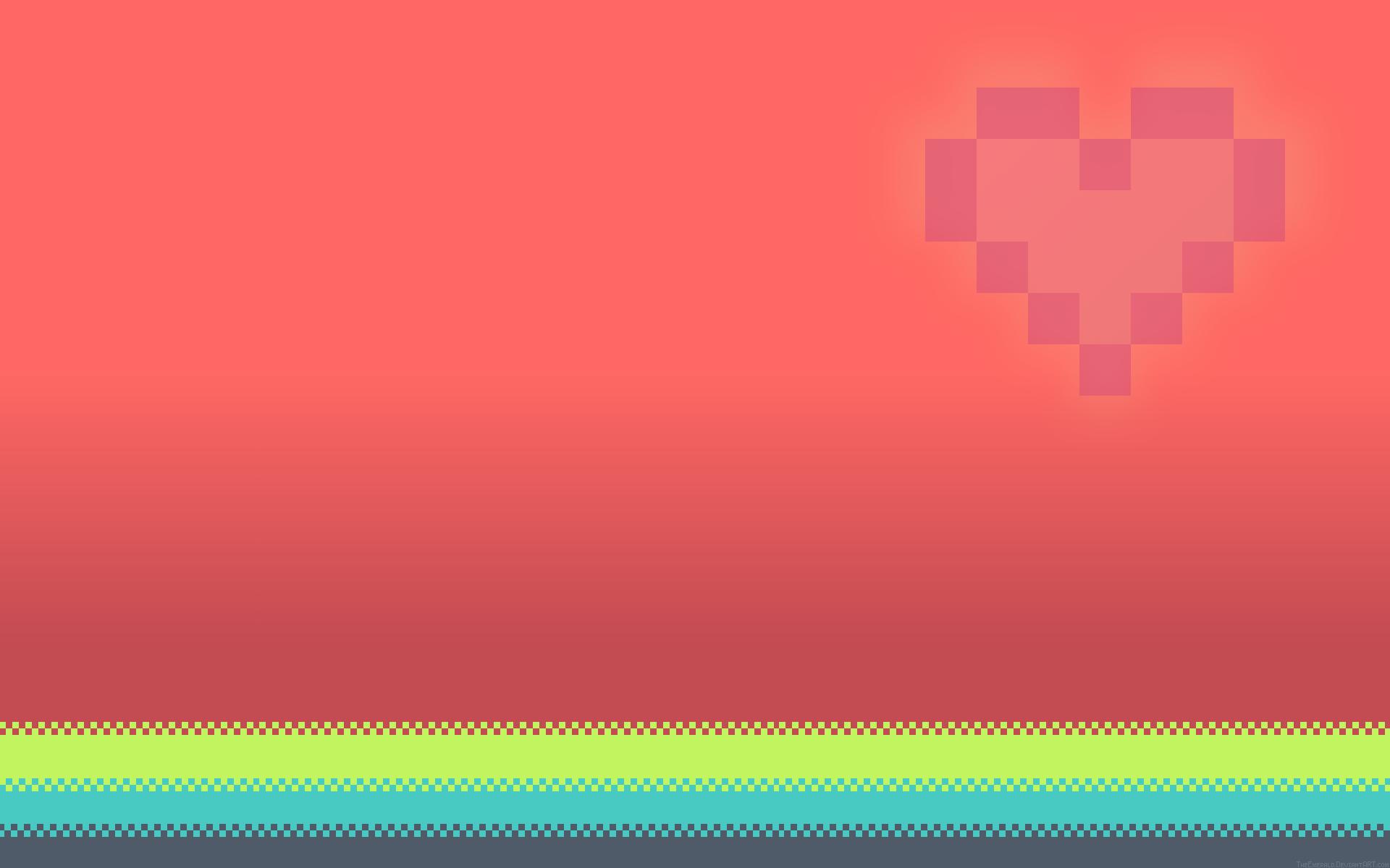Fond Décran Pixels Cœur Rose Amour 1920x1200 Zefiris