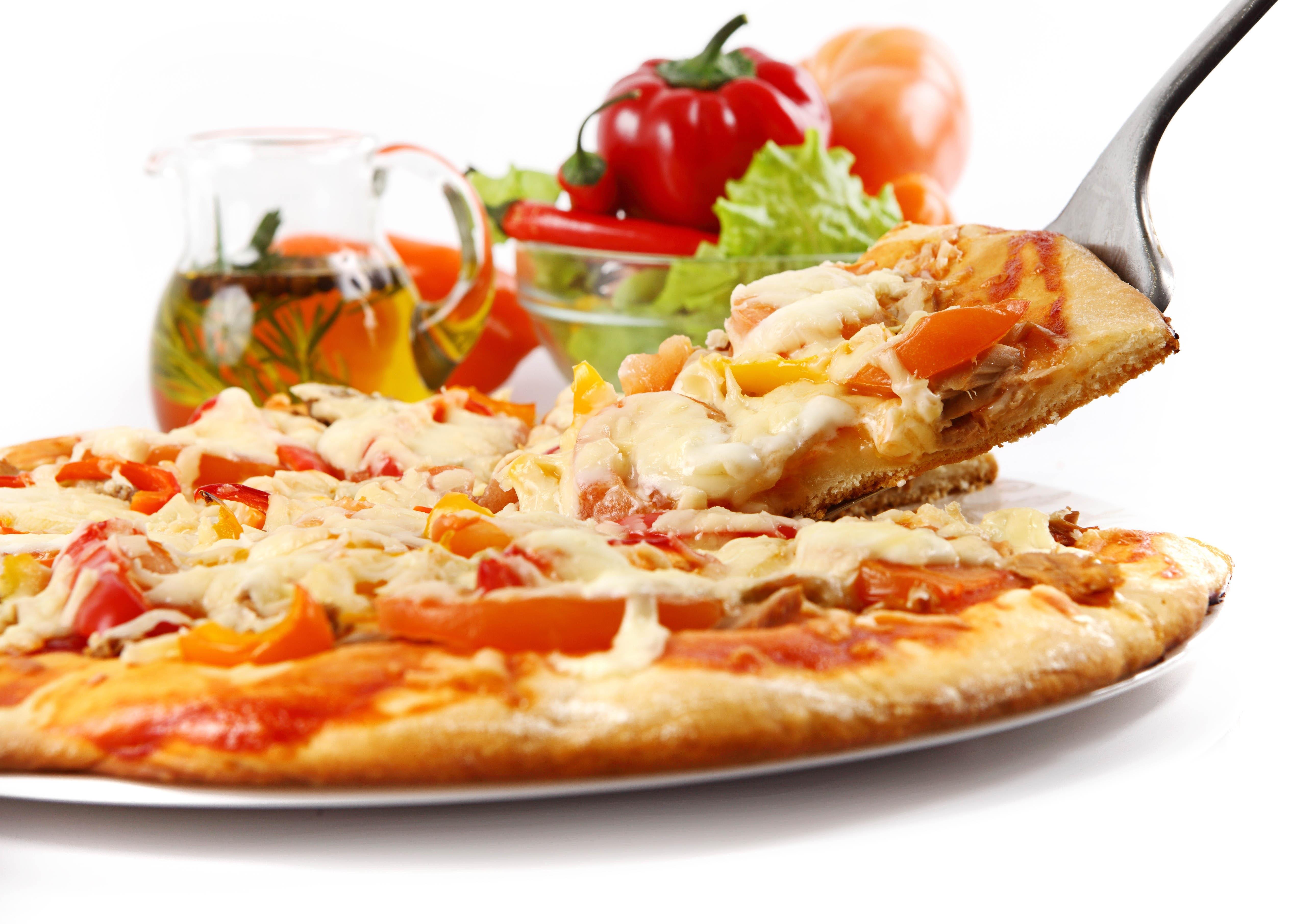 Pizza Piece Spoon White Background