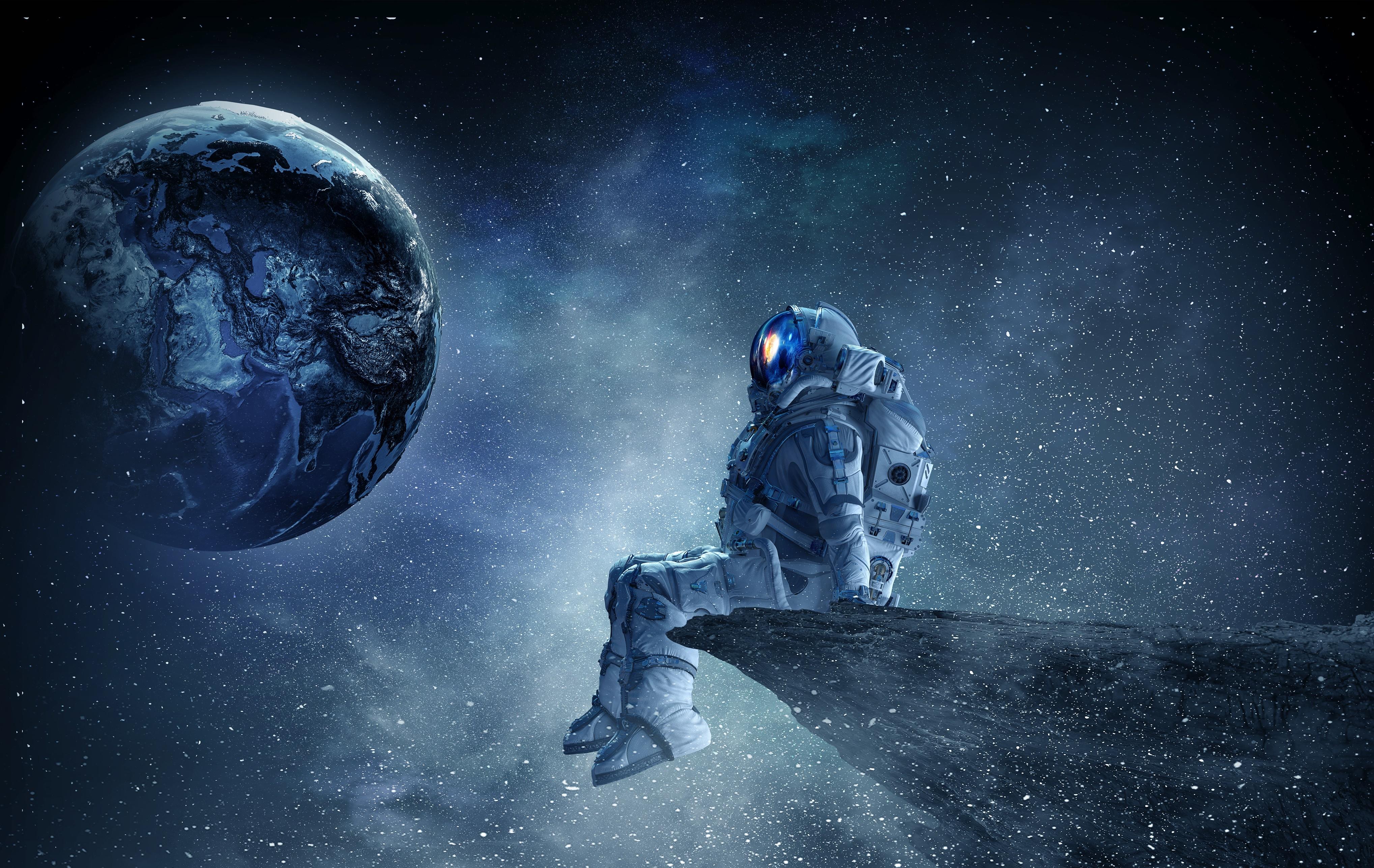 Wallpaper Planet Astronaut Space Art Digital Art