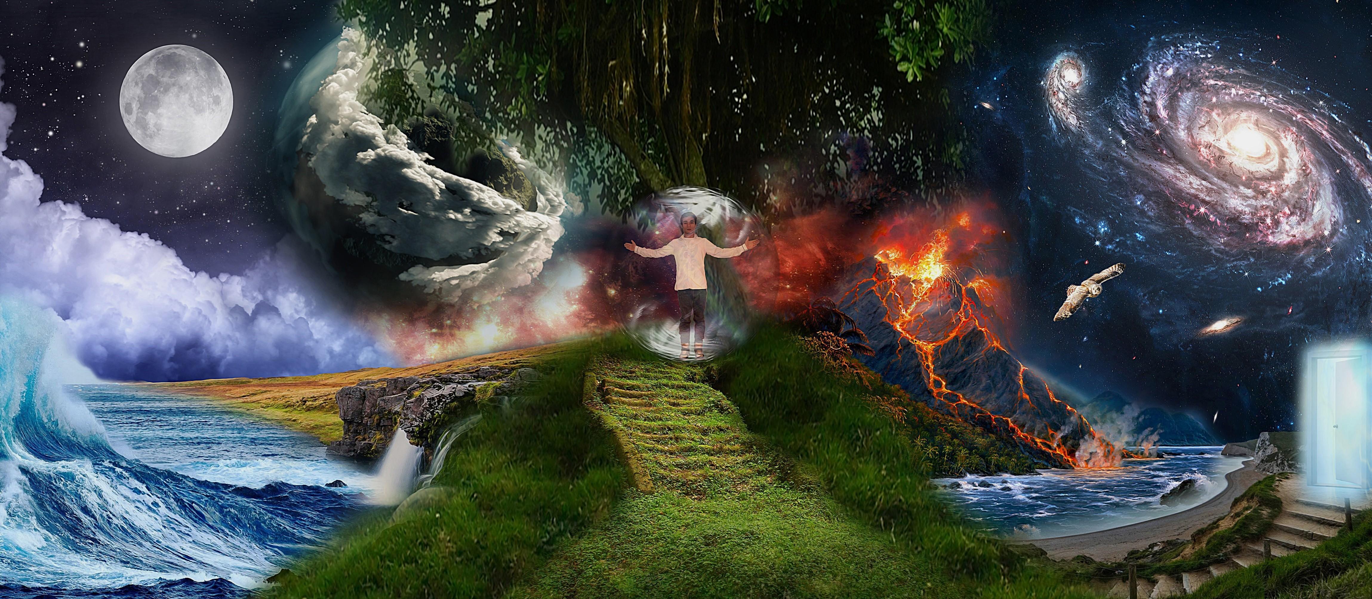 Fond d'écran : planète, collage, Terre, univers, mythologie, capture d'écran, Papier peint de l ...