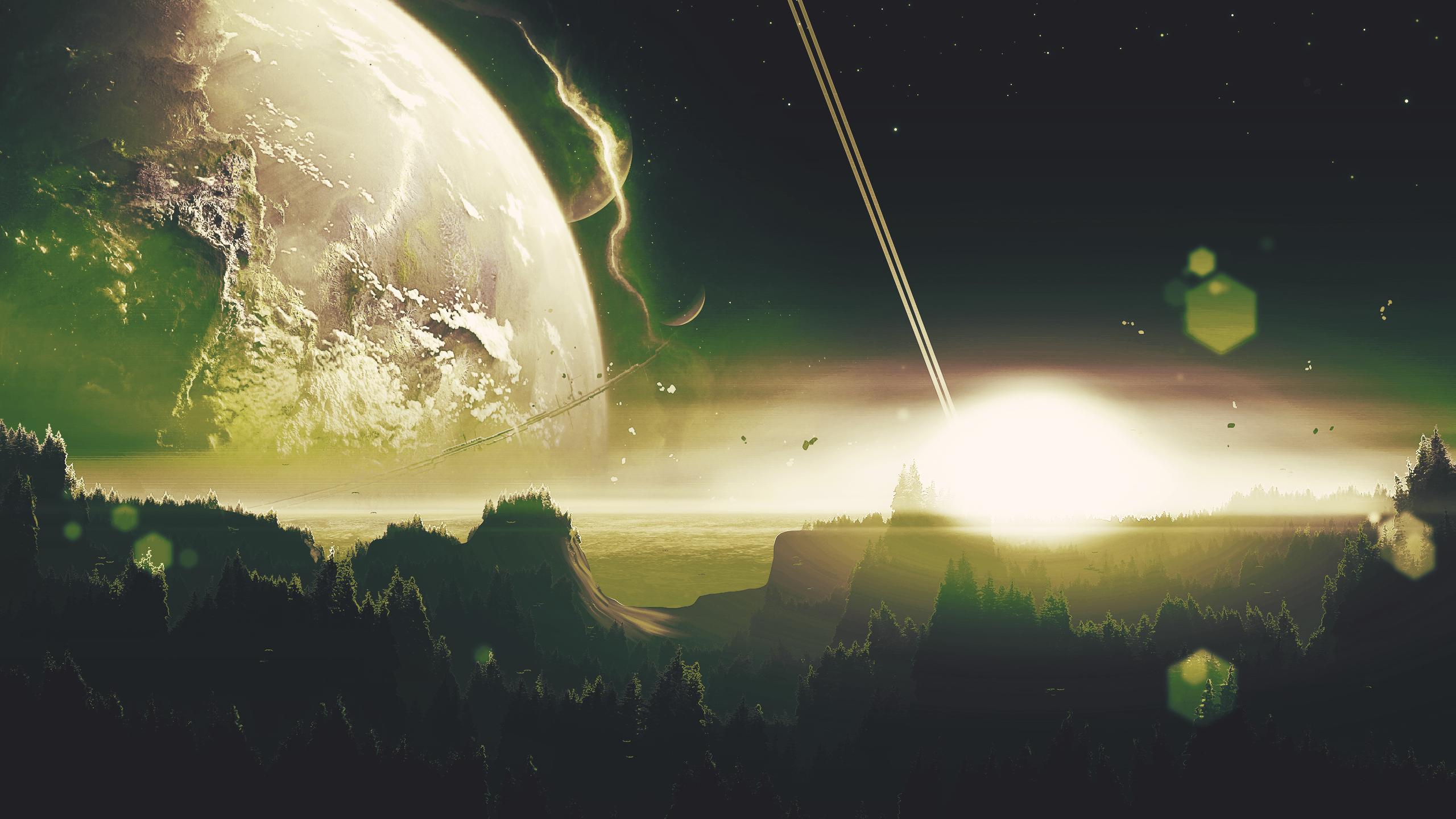 Wallpaper Planet Green Sun Light Effects Galaxy Alien Movie 2560x1440 Wiseman 1692883 Hd Wallpapers Wallhere