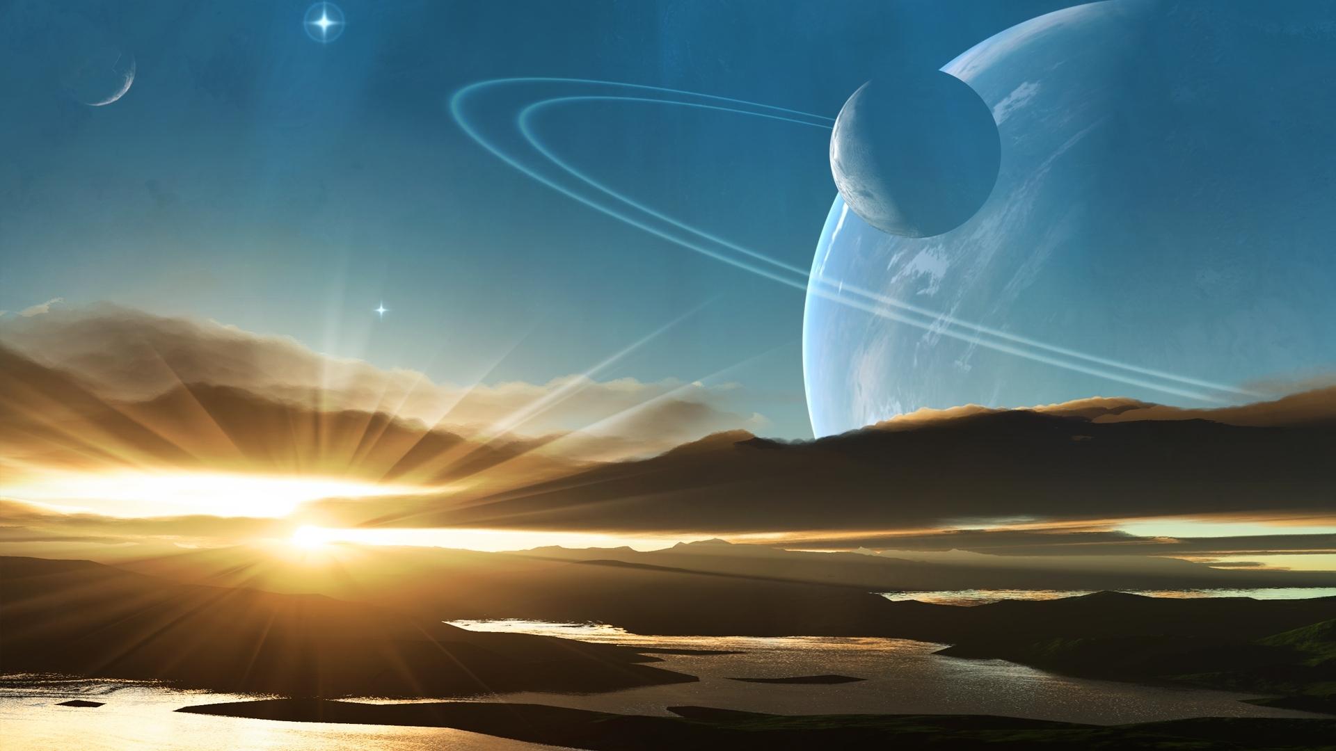 Wallpaper Planet Light Saturn Drawing 1920x1080