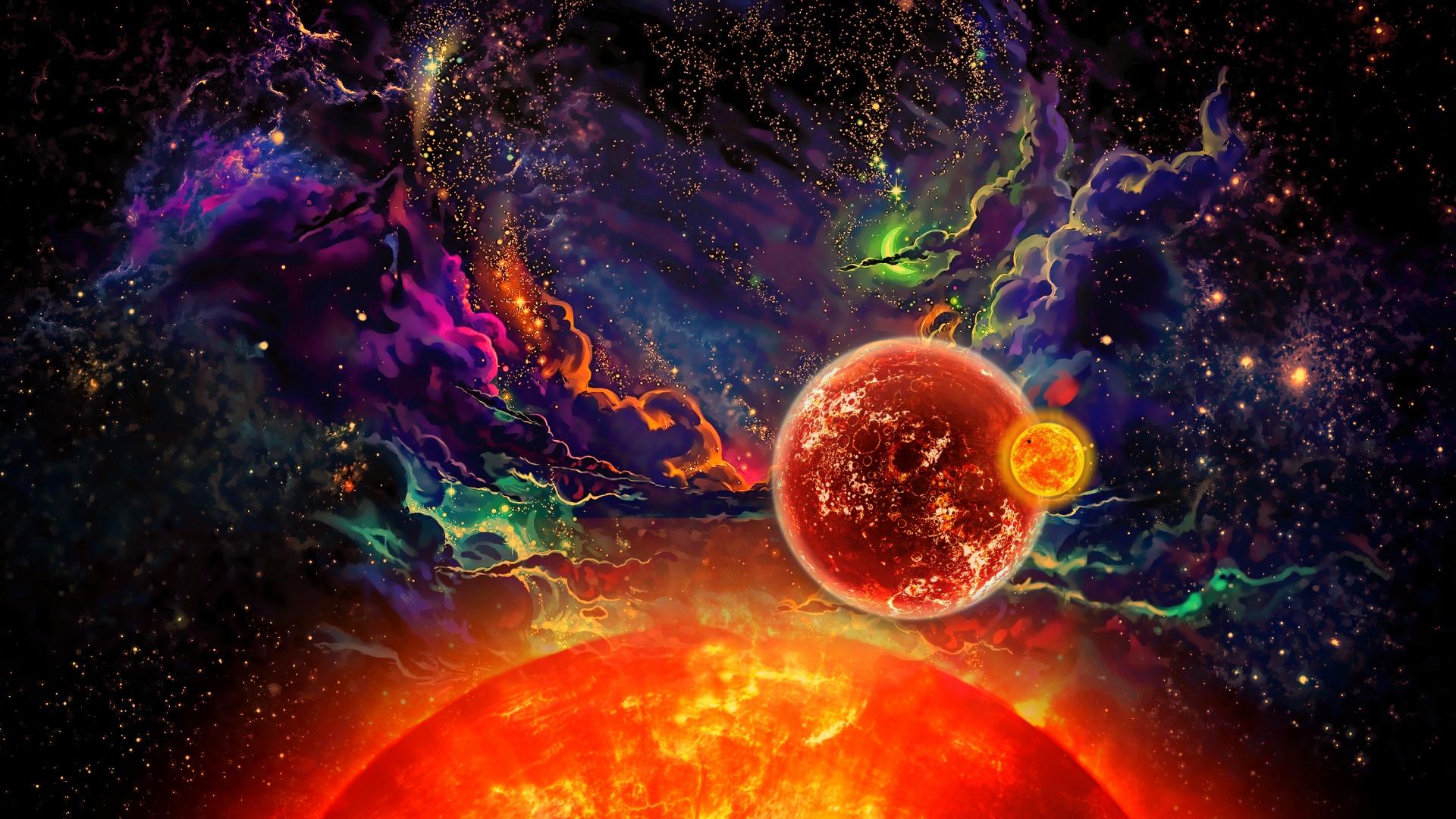 Fond d'écran : planète, espace, Coloré, Art de l'espace, art numérique 1920x1080 ...