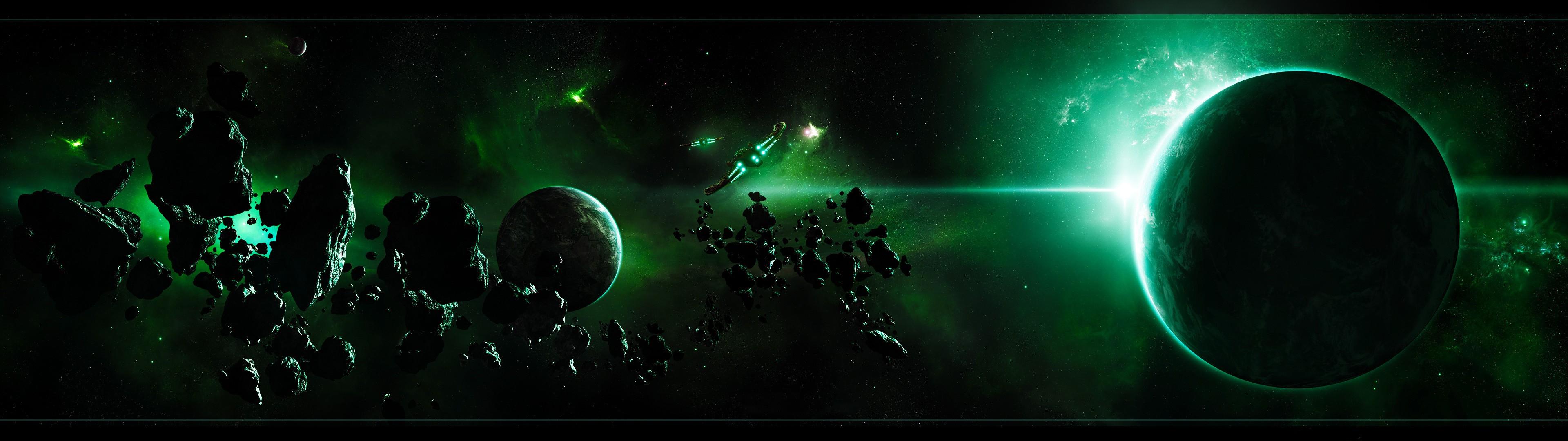 デスクトップ壁紙 スペース 宇宙美術 緑 宇宙船 デュアル