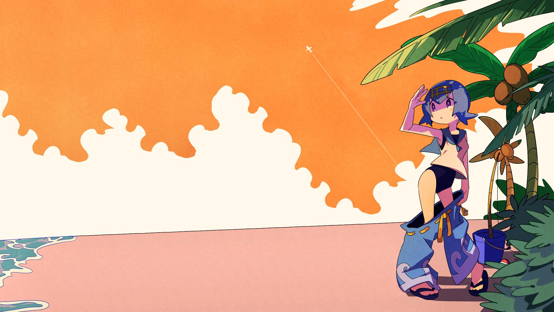 Wallpaper Pokemon Sea Orange Lana Suiren 1920x1080