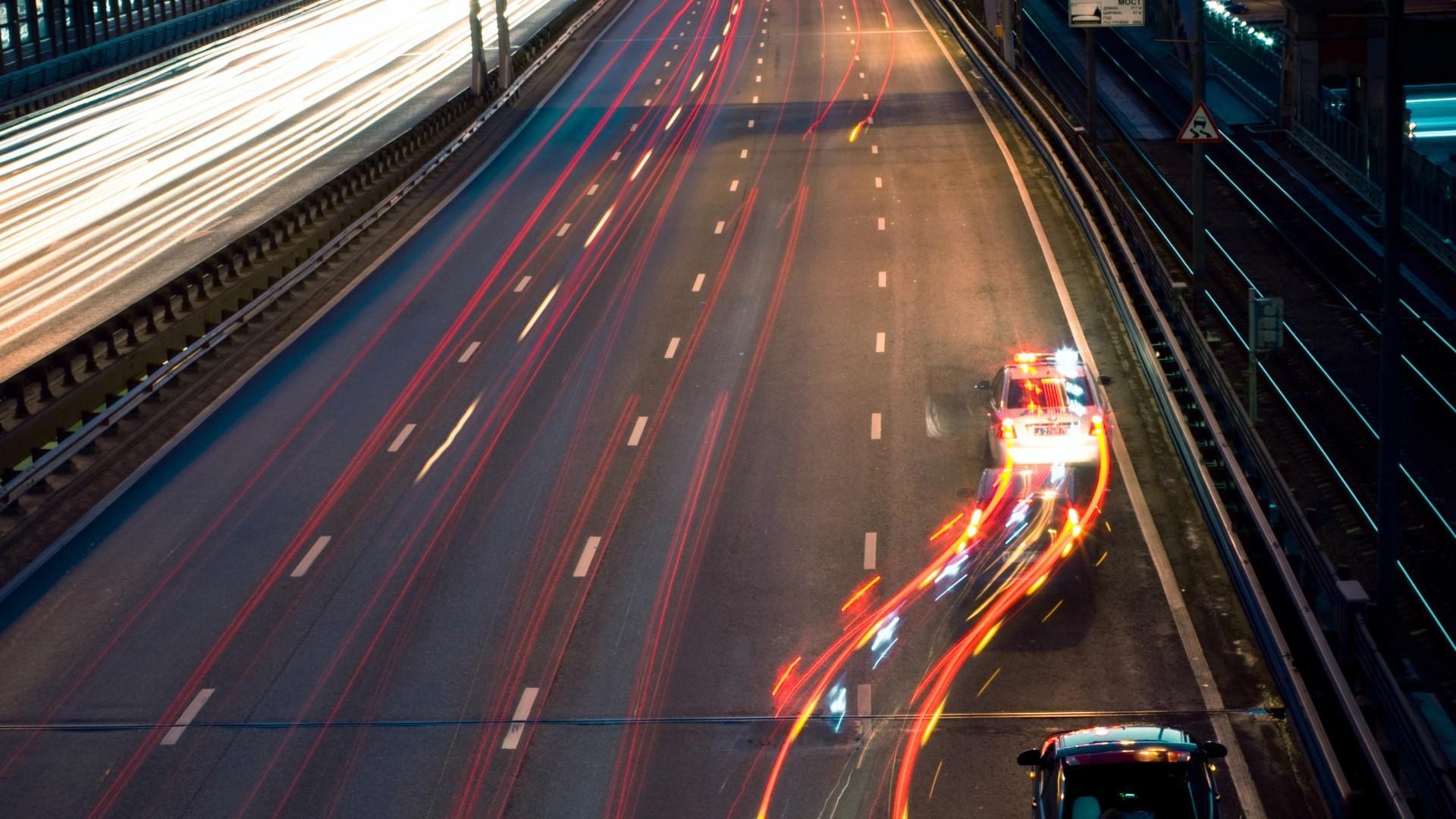 Wallpaper : Police, Night, Car, Road, Long Exposure