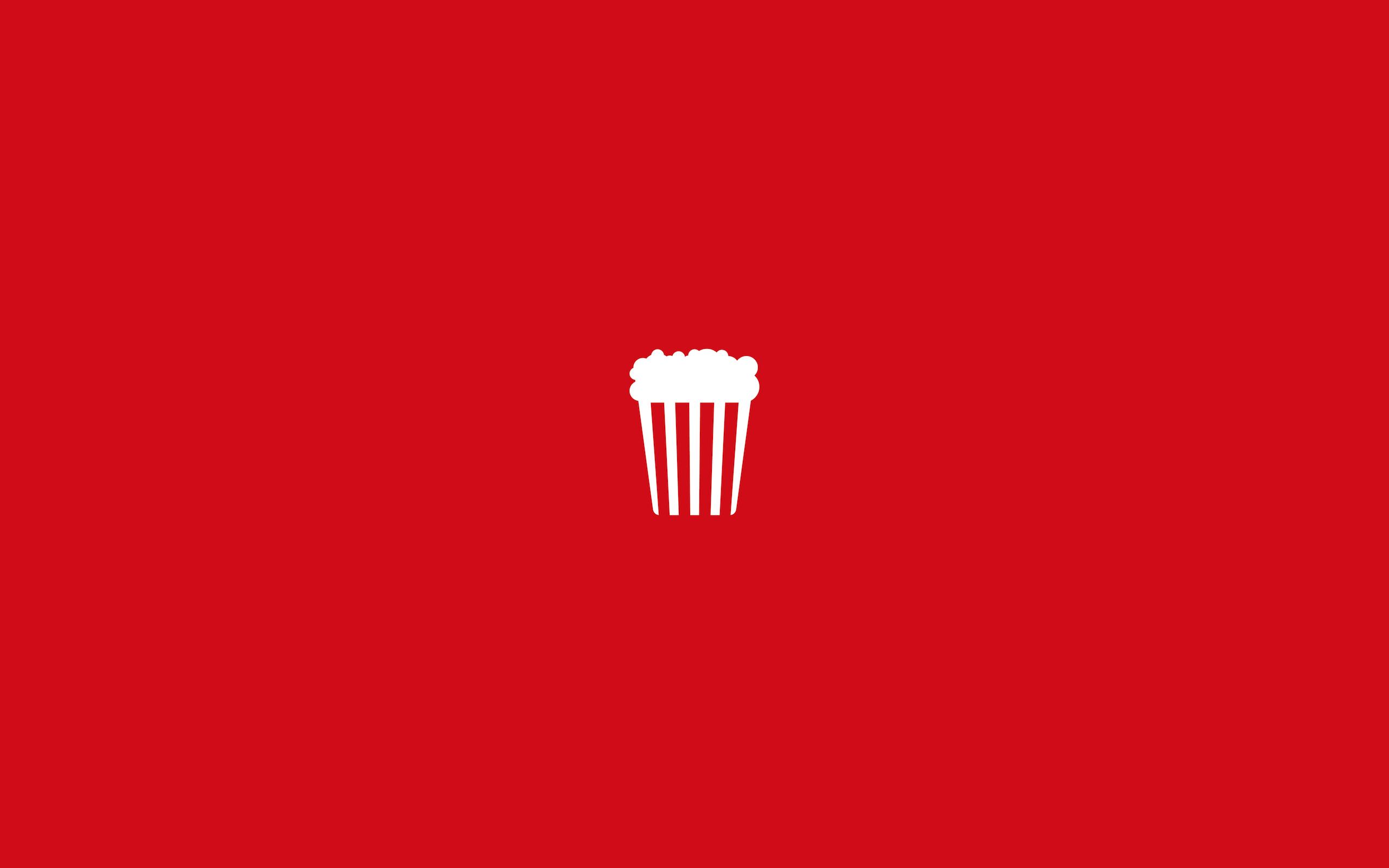 Wallpaper Popcorn Minimalism Red Background 2560x1600