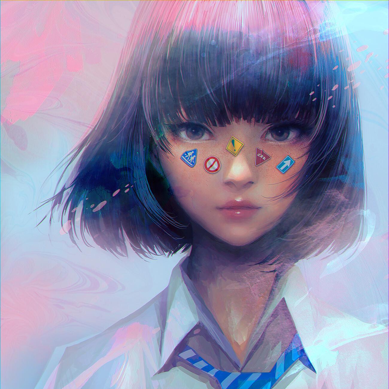 デスクトップ壁紙 ポートレート アジア人 女子高生 アートワーク