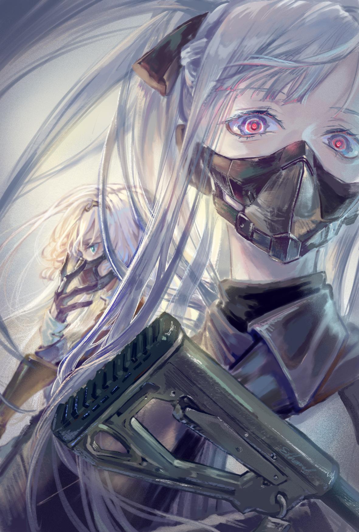 Portrait Display Gun Mask Anime Girls Girls Frontline
