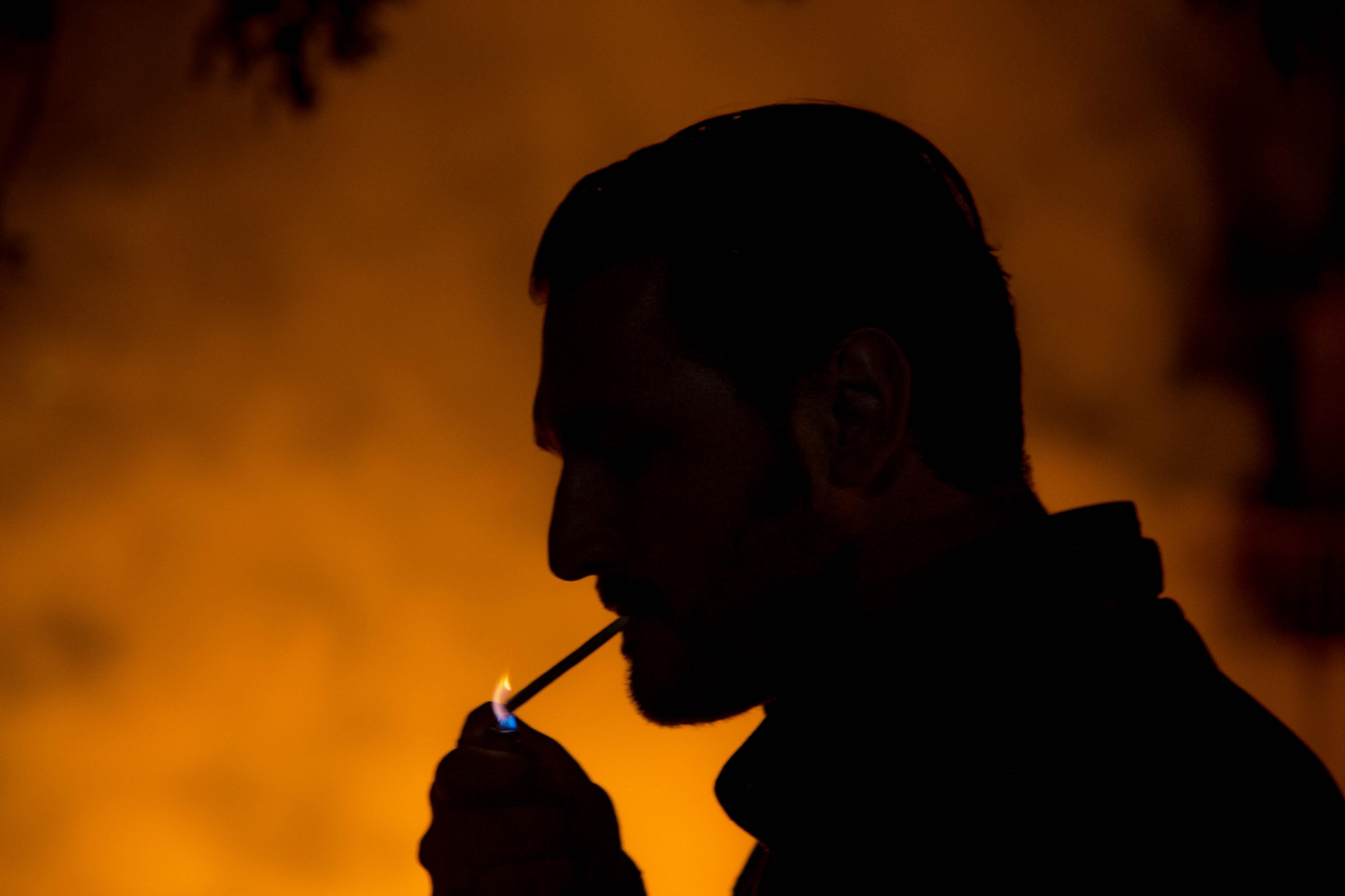 Portrait Night Sky Silhouette Smoke Music Smoking Yellow Evening Fire Orange Backlighting Lighter Marlboro Audio Light