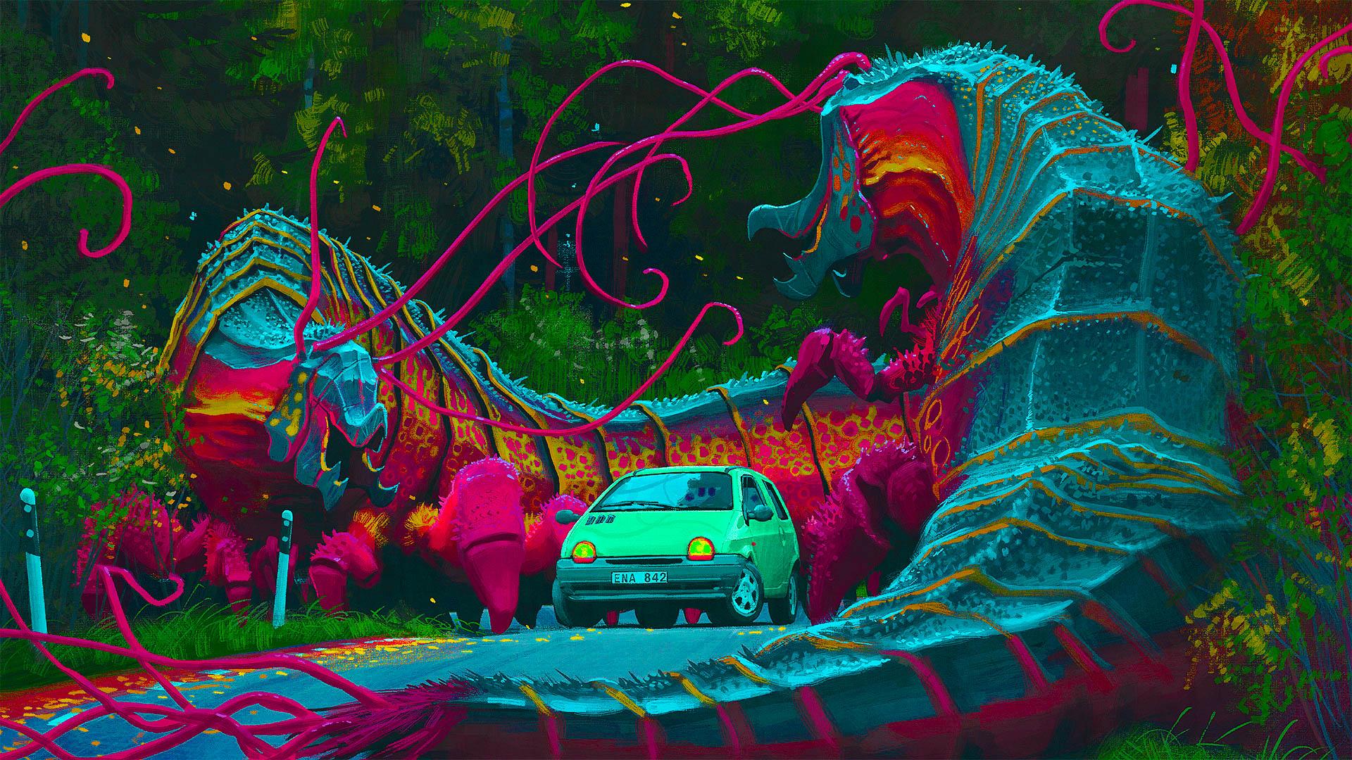 Wallpaper Psychedelic Trippy Colorful Simon Stalenhag 1920x1080