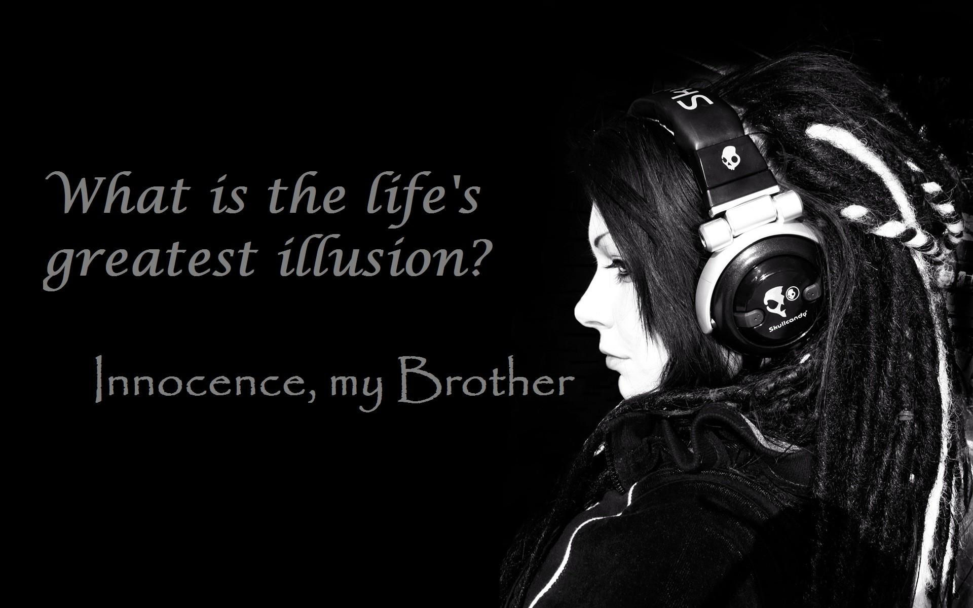 Quote Women Monochrome Headphones Emotion Dark Brotherhood Darkness Black And White Photography Album Cover