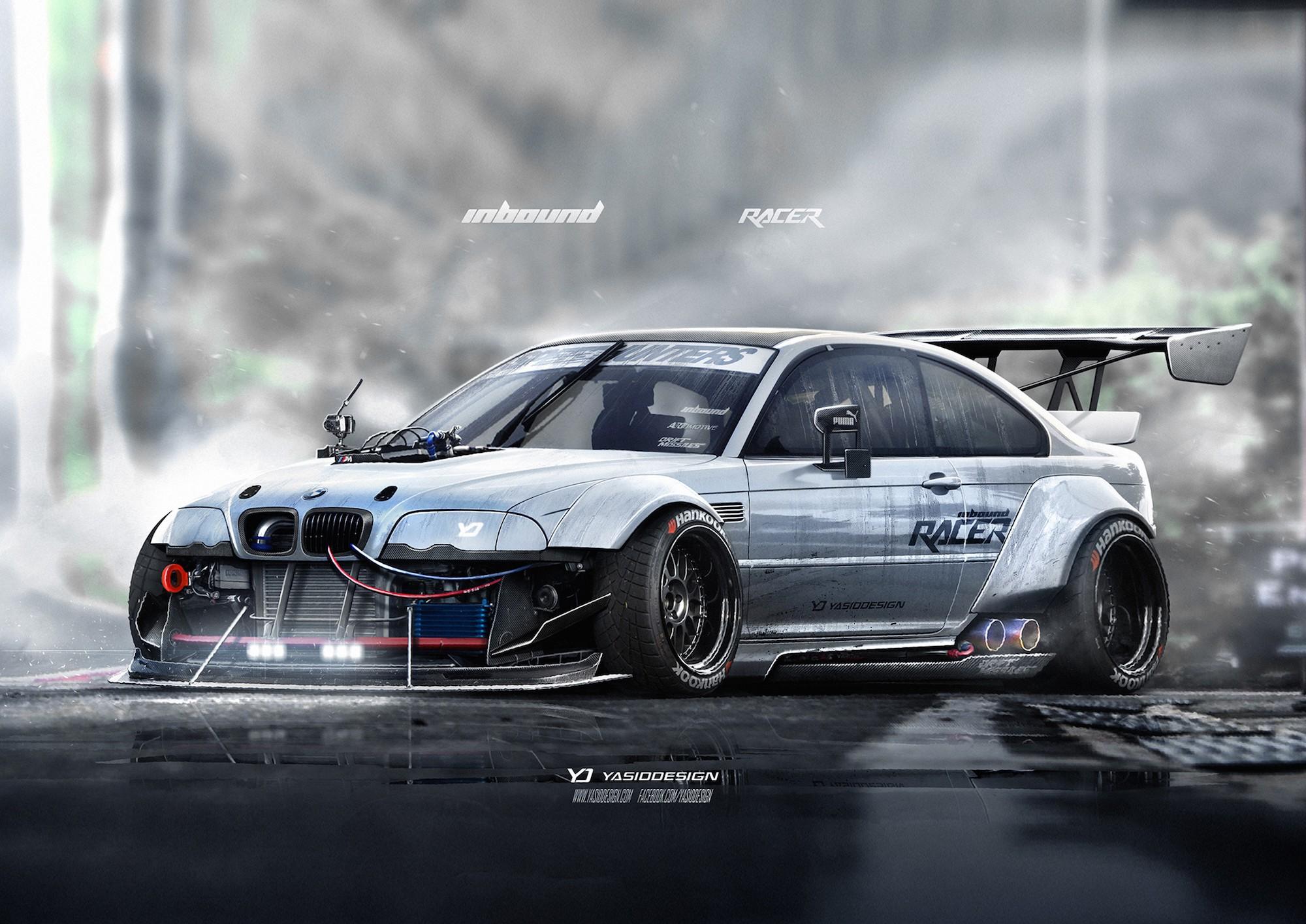 Wallpaper Race Cars Render Artwork Drifting Sports Car Bmw M3