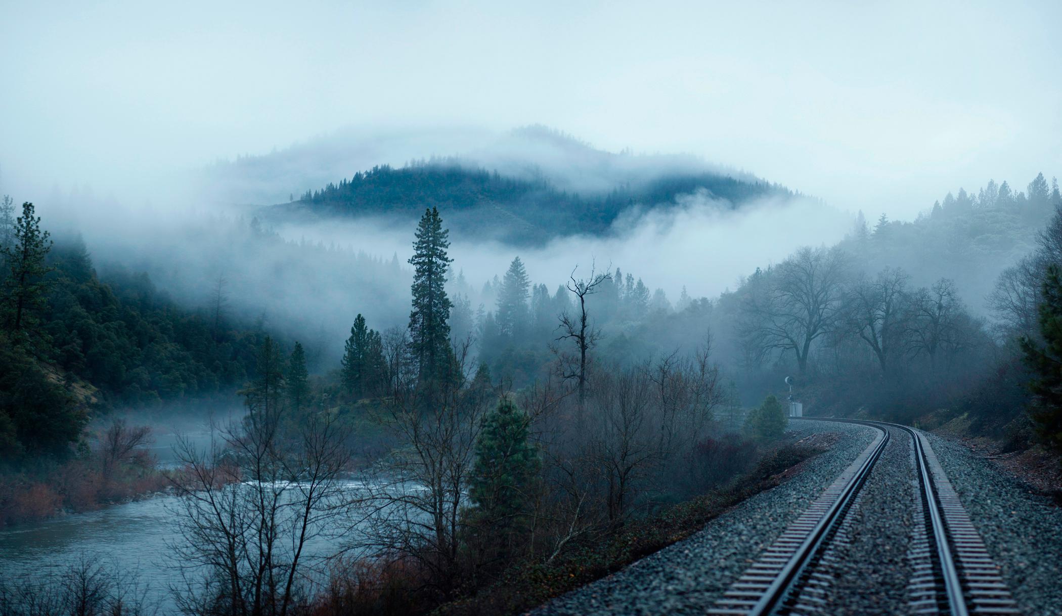 обои для рабочего стола железная дорога в лесу зимой № 231063 без смс