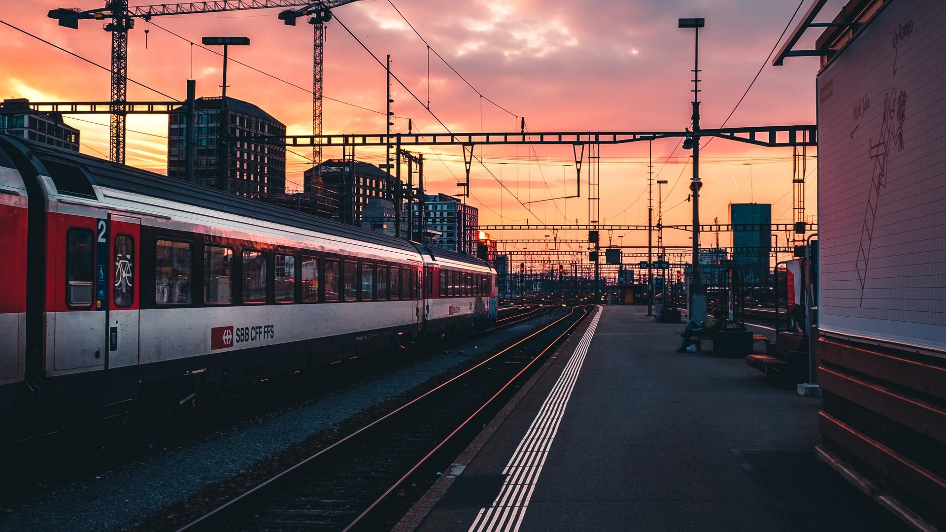 Wallpaper Railway Railroad Track Train Station Sunset