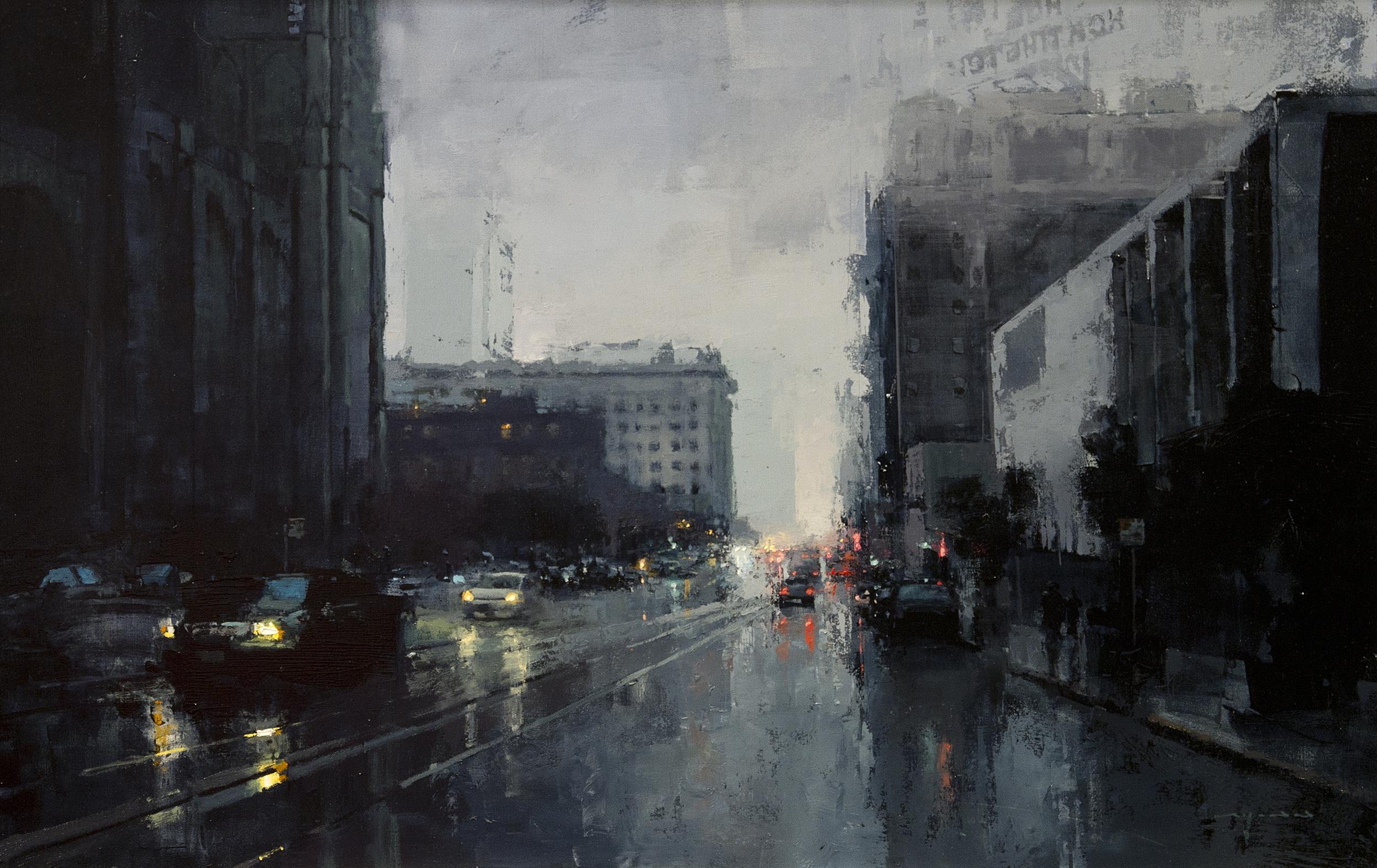 Rain Road Car City Artwork Modern Impressionism Painting
