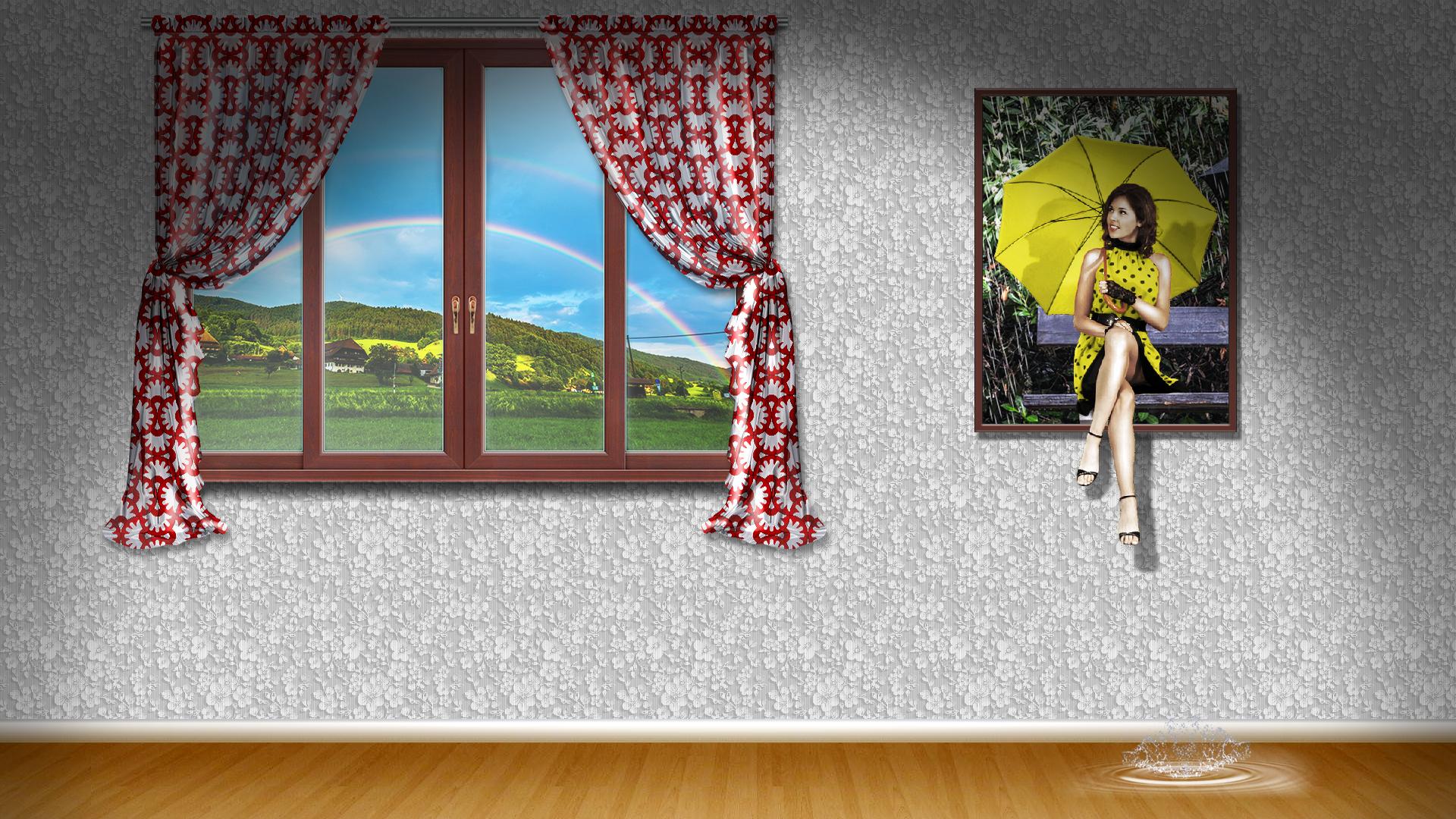 Fondos de pantalla : lluvia, paraguas, mujer, cortina, ventana ...