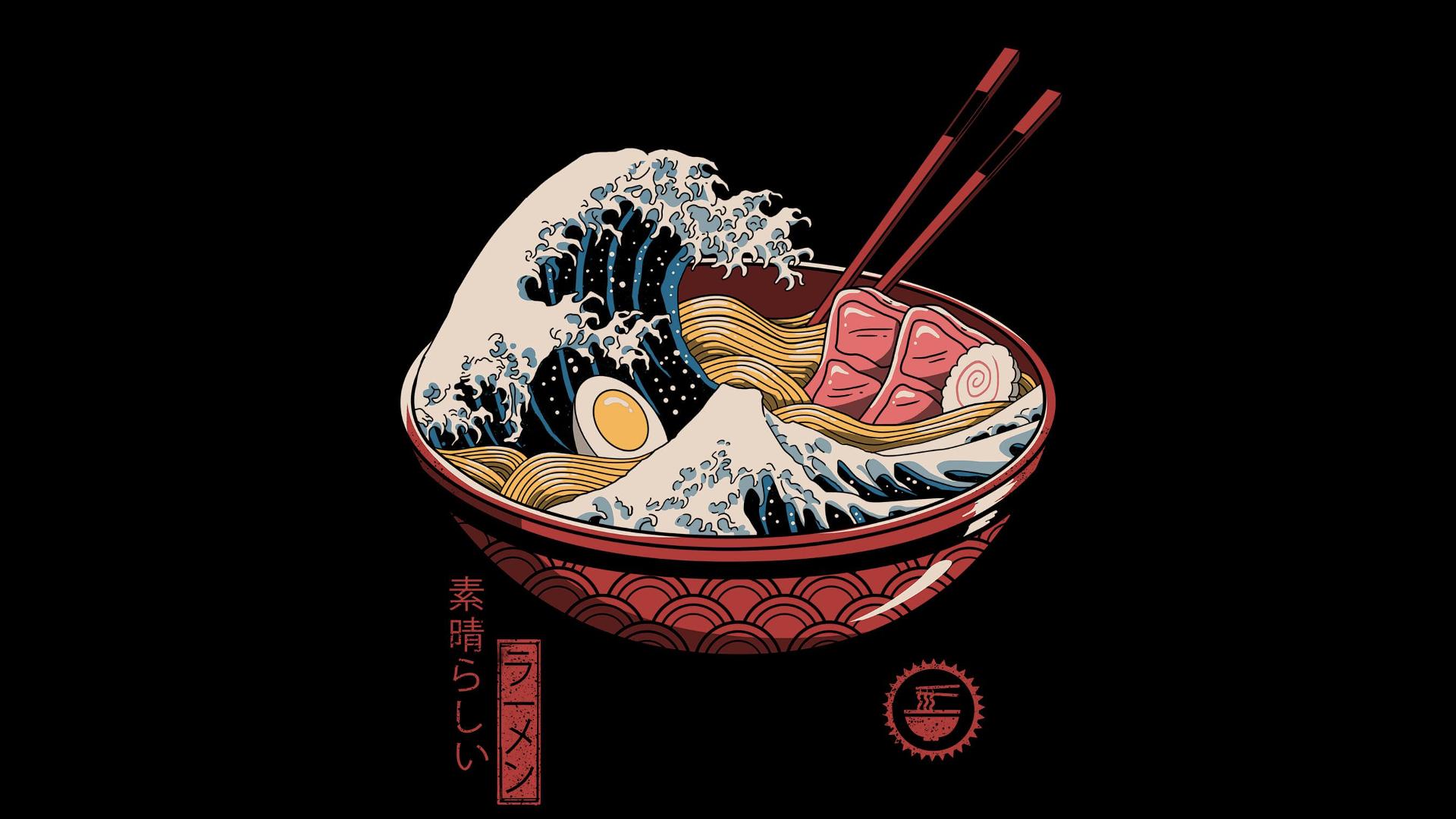 Wallpaper Ramen Waves Chopstick Chopsticks Eggs Japanese