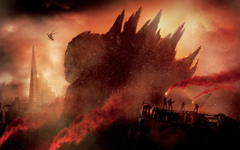 デスクトップ壁紙 赤 アートワーク 爆発 ゴジラ 火炎 闇