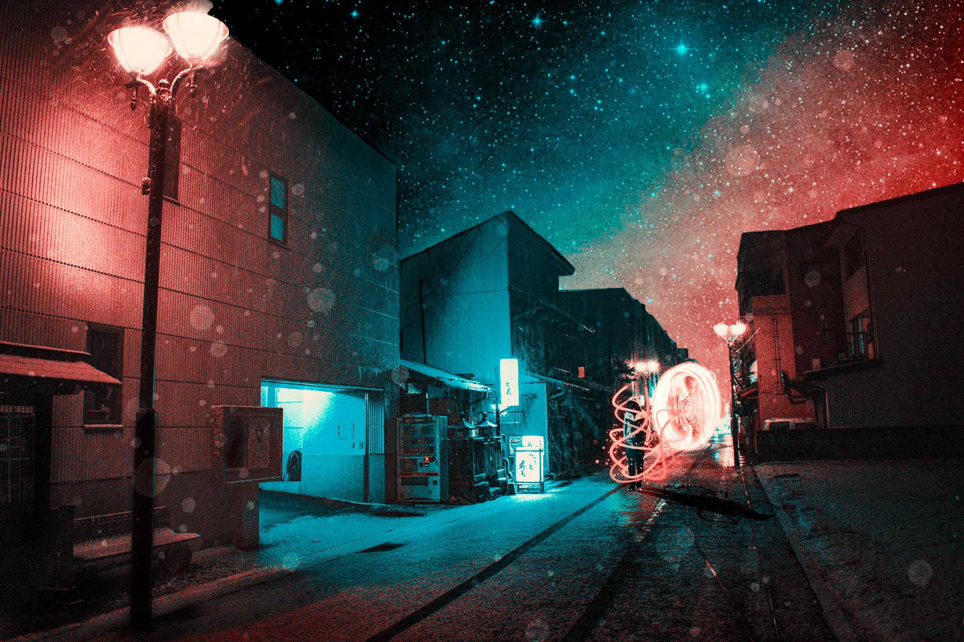 Wallpaper Red Night Japan Street Art Dark Light Armor