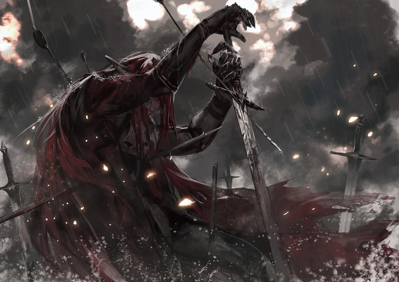 Women Warrior Artwork Sword Rain Cyberpunk Cyberpunk: Wallpaper : Redhead, Fantasy Art, Dark, Anime, Rain, Smoke