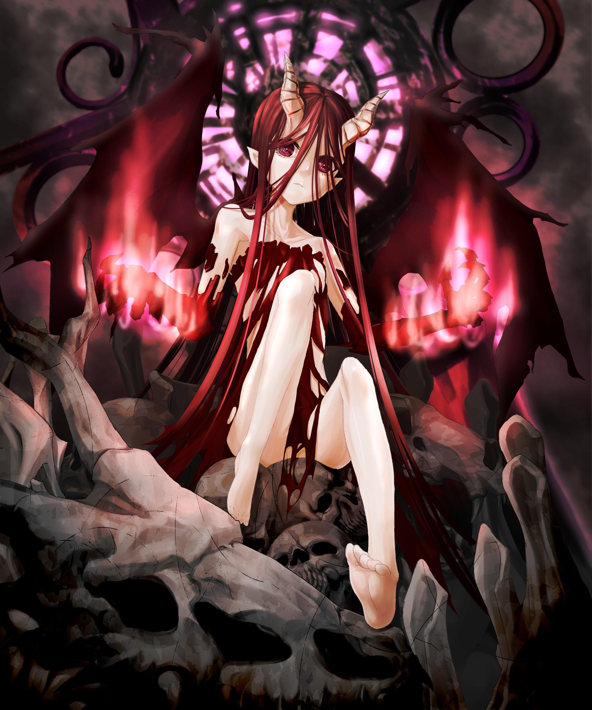 wallpaper redhead long hair anime girls legs wings