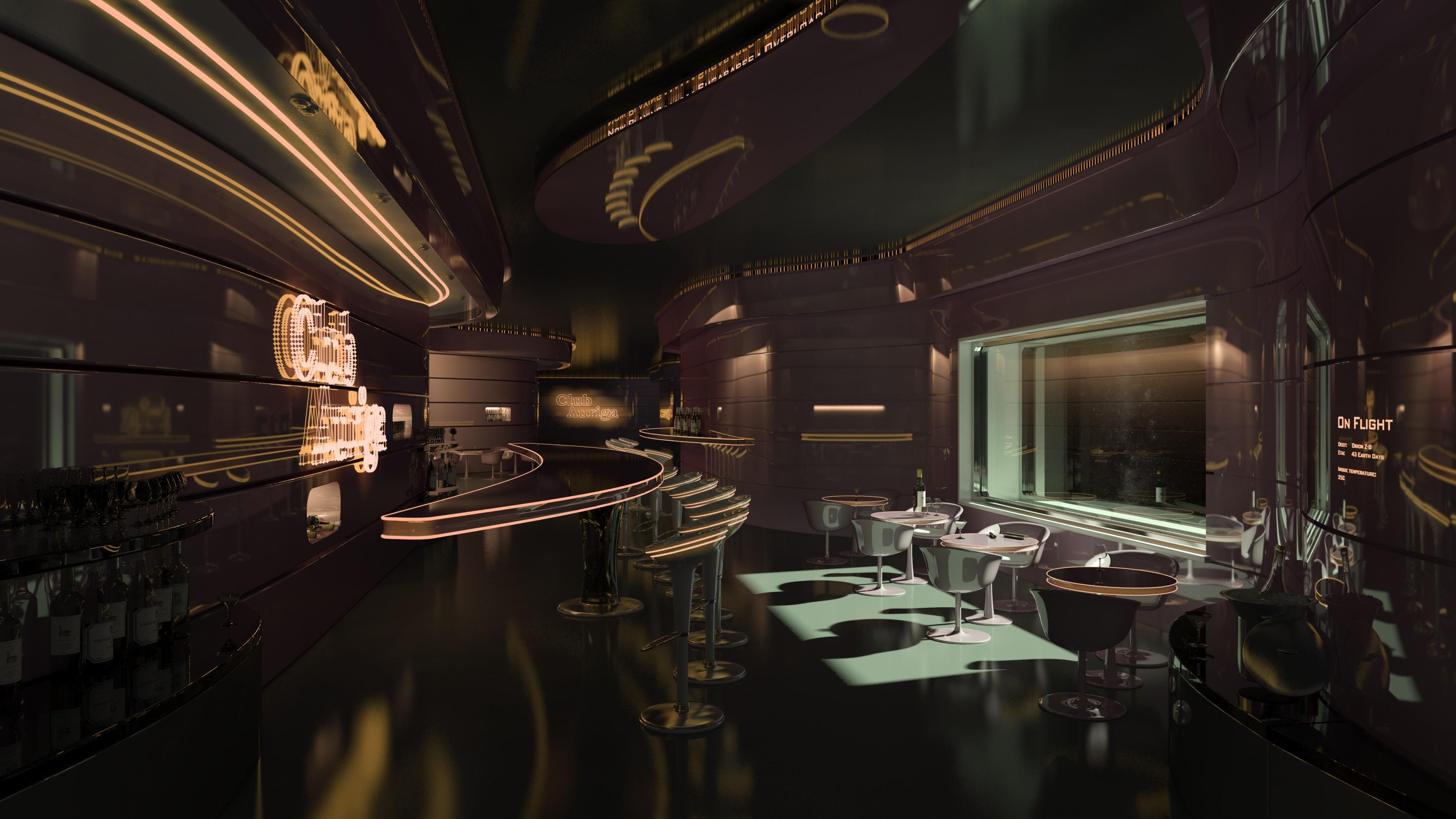 Sfondi : rendere futuristico stazione spaziale bar ristorante