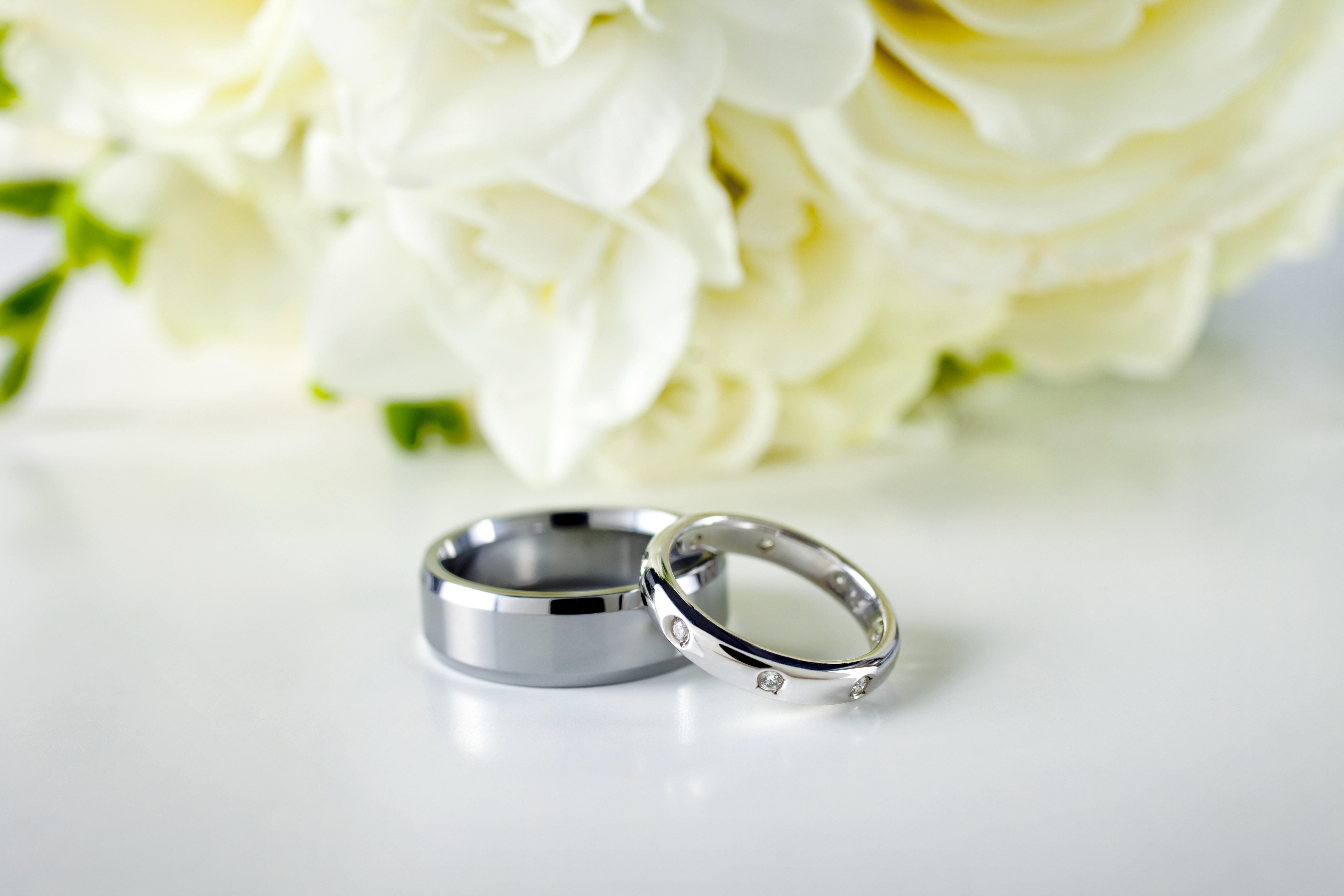Hintergrundbilder Ringe Paar Hochzeit Silber Blumen 5616x3744