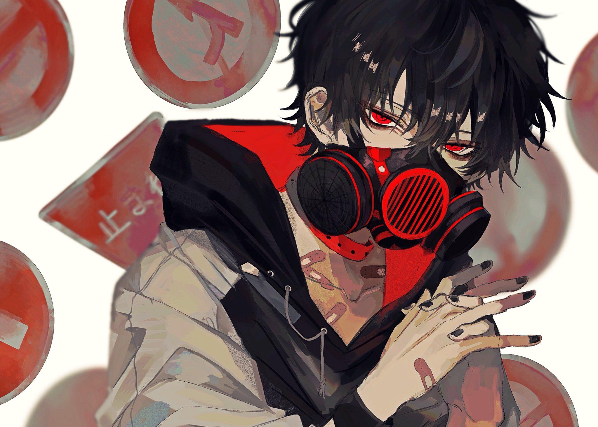 Wallpaper : road sign, gas masks, hoods, bandage, red eyes ...