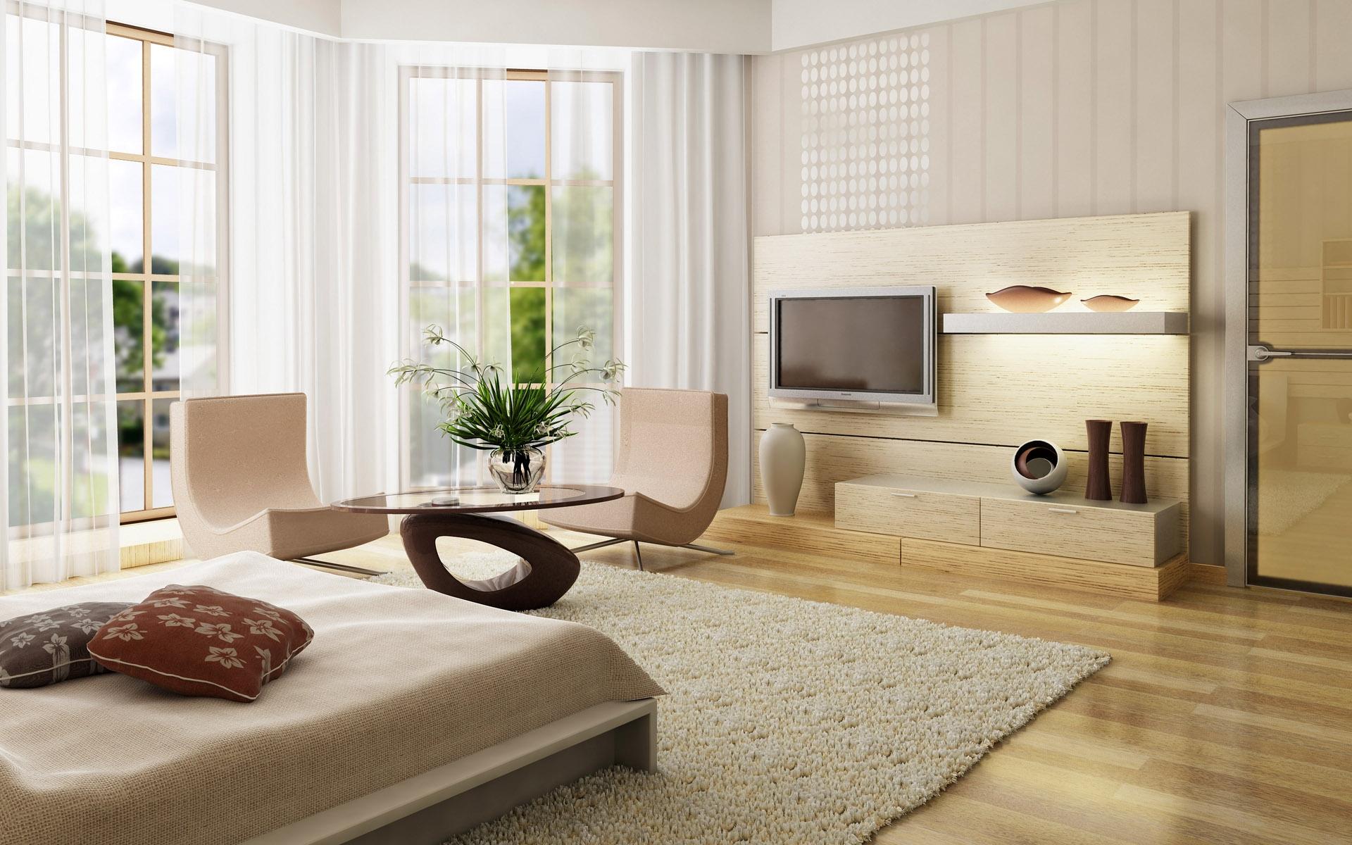 Sfondi camera letto legna tv scaffali interior design