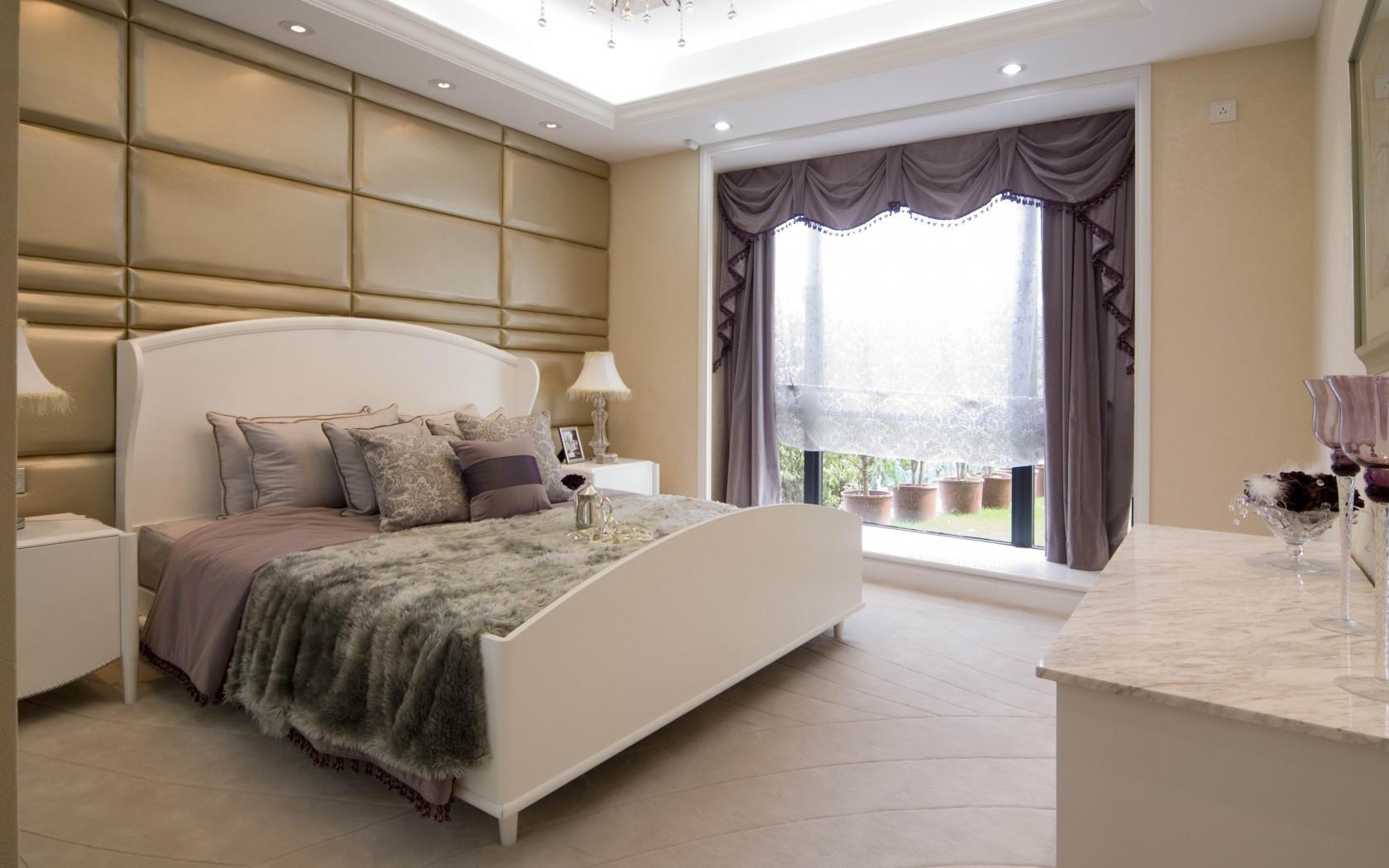 Baggrunde : værelse, soveværelse, seng, gardiner, vindue, puder ...