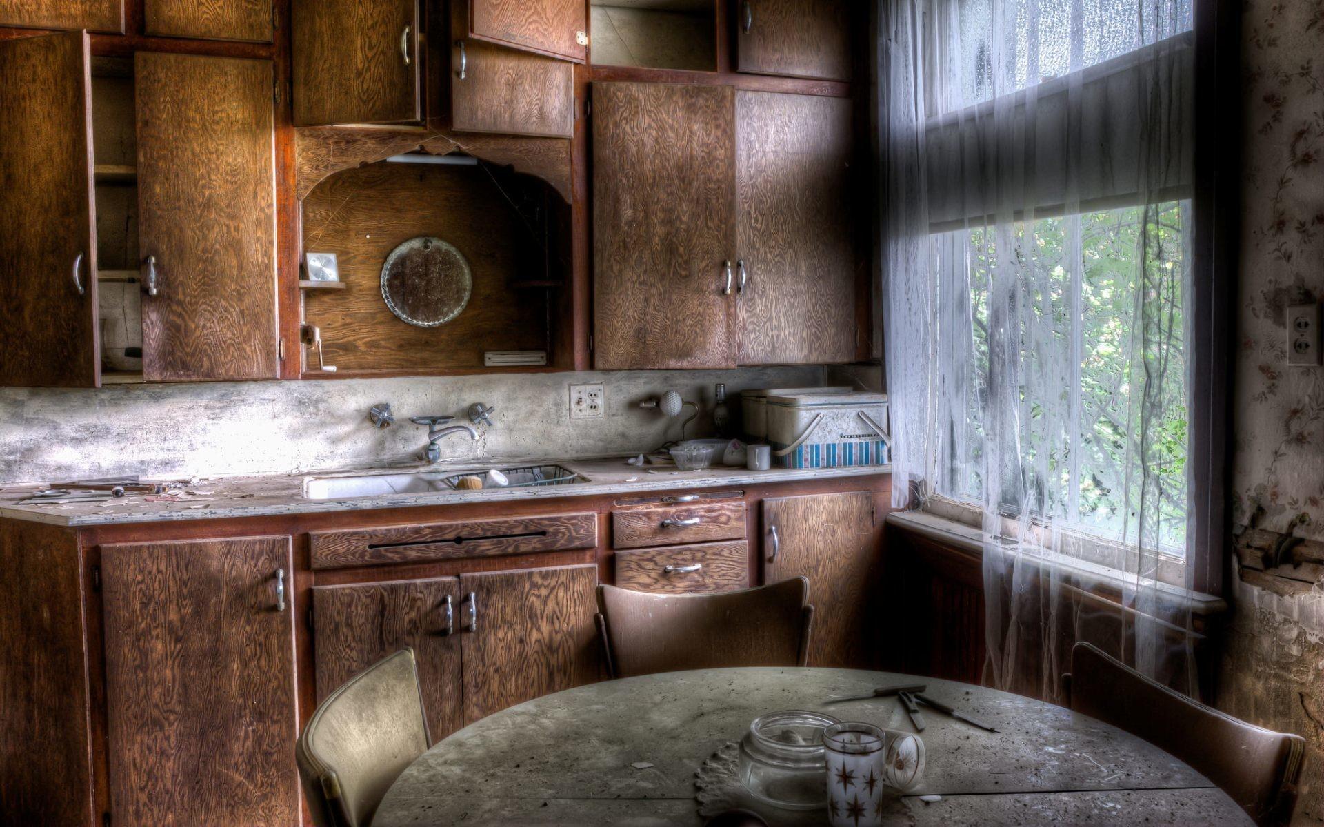 Tapety Pokój Wnętrze Ruina Drewno Dom Kuchnia Stary