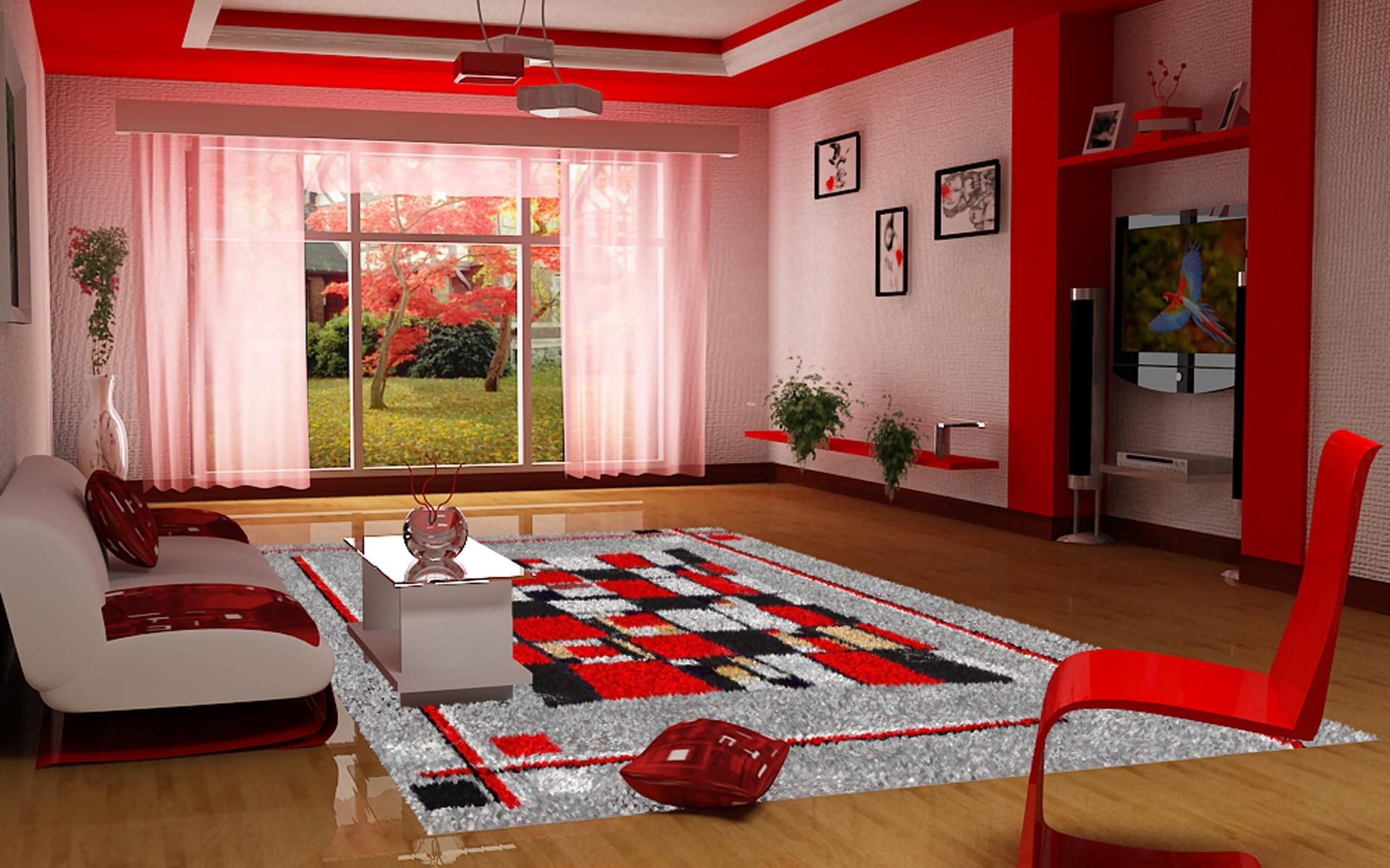 Baggrunde : værelse, rød, Indretning, sommerhus, ejendom, spisestue ...