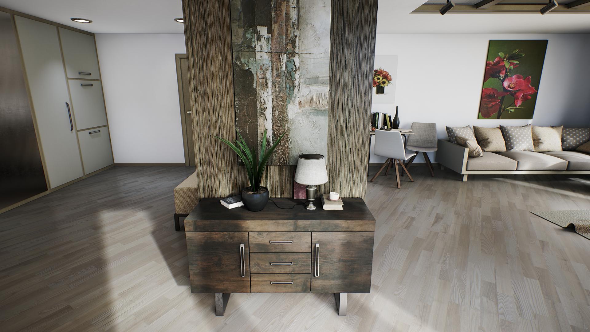 Papel De Parede Quarto Mesa Design De Interiores Chal Archviz  -> Piso Parede Sala