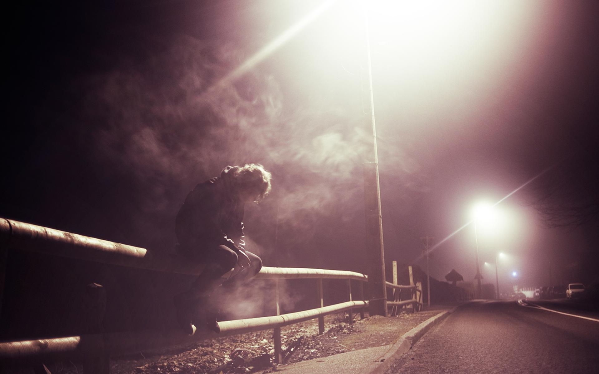 Wallpaper Sad Men Smoking Road Night 1920x1200 Lapse