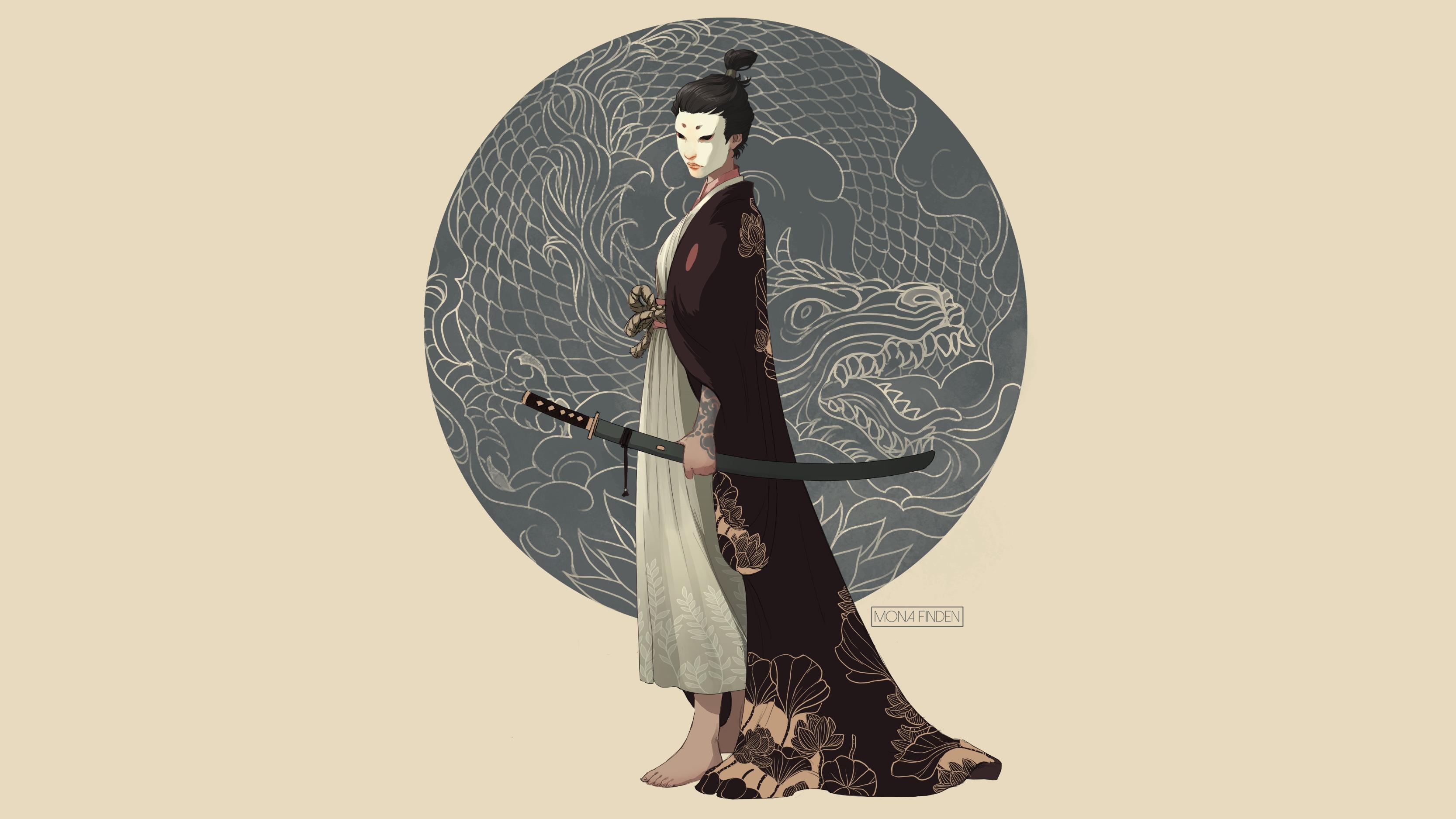 Artwork digital art illustration drawing beige background simple background circle standing side view mona finden women fantasy girl