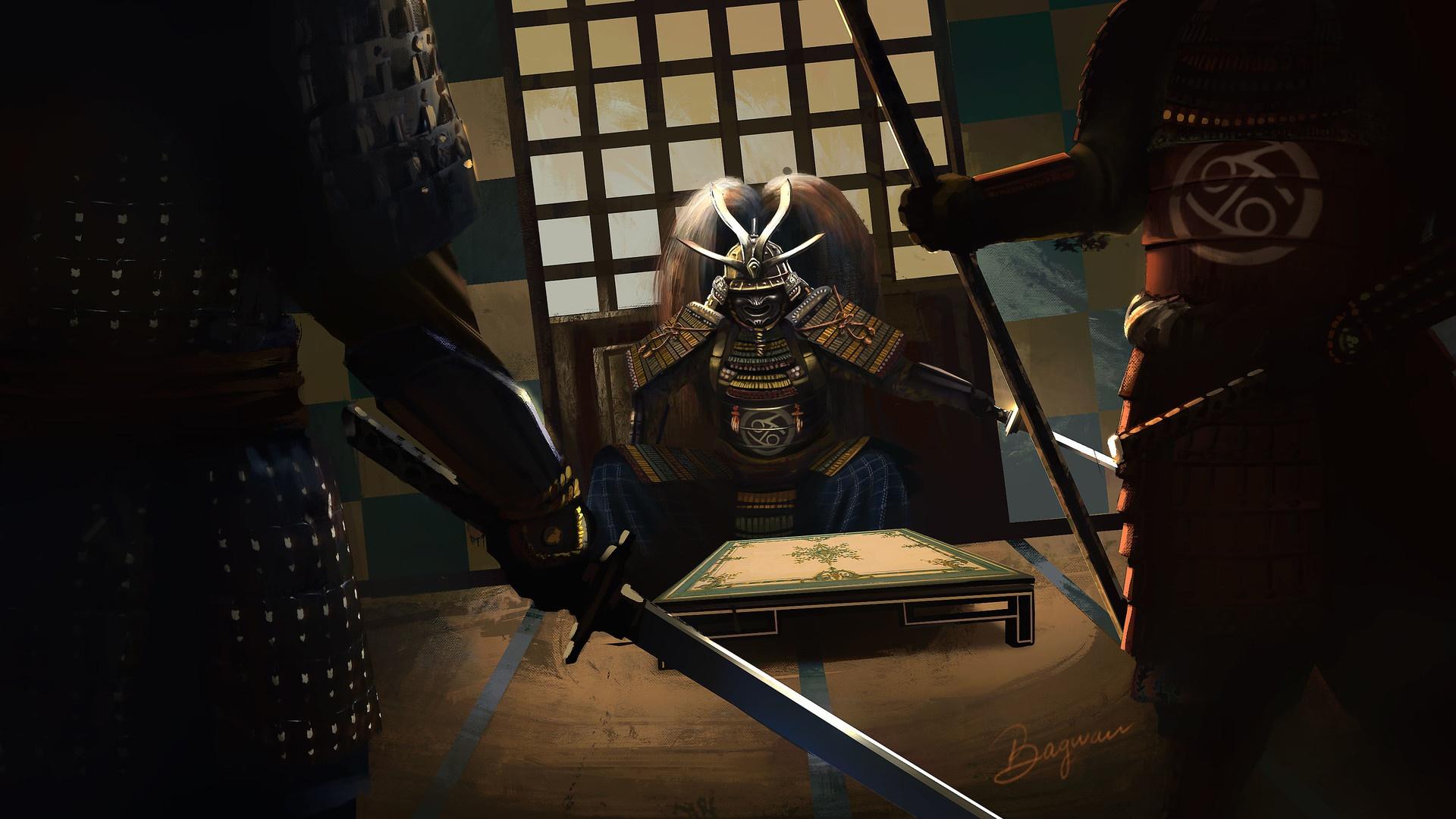 Wallpaper Samurai Sword Artwork Fantasy Art 1920x1080