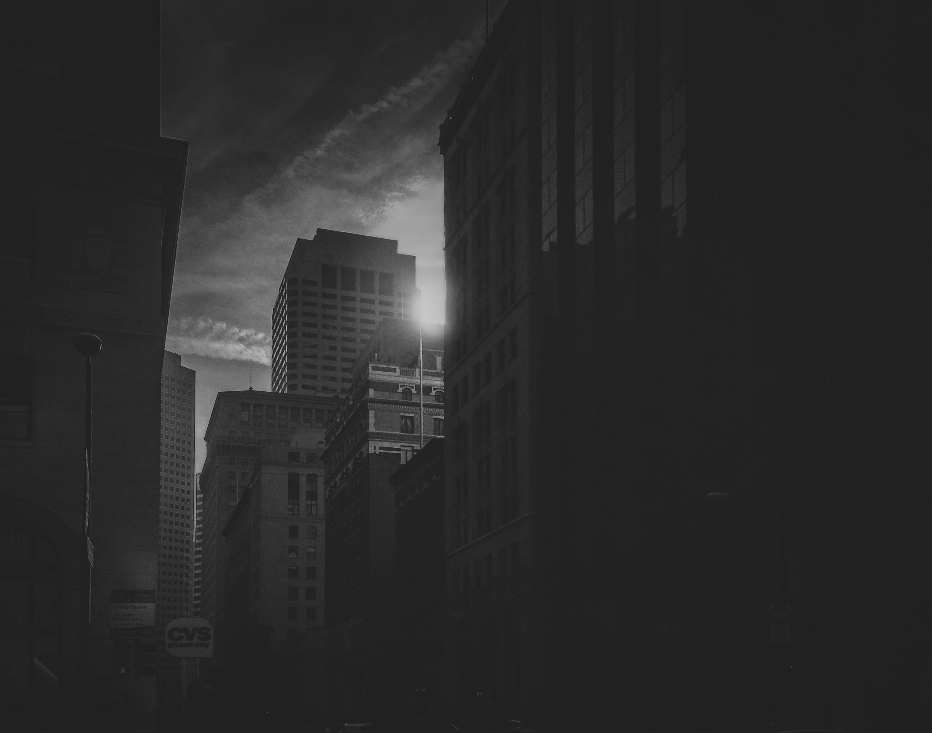Sanfrancisco California City Sky Urban Blackandwhite Sun Cali Buildings Dark Blackwhite Scary Downtown Glow Glare Skyscrapers
