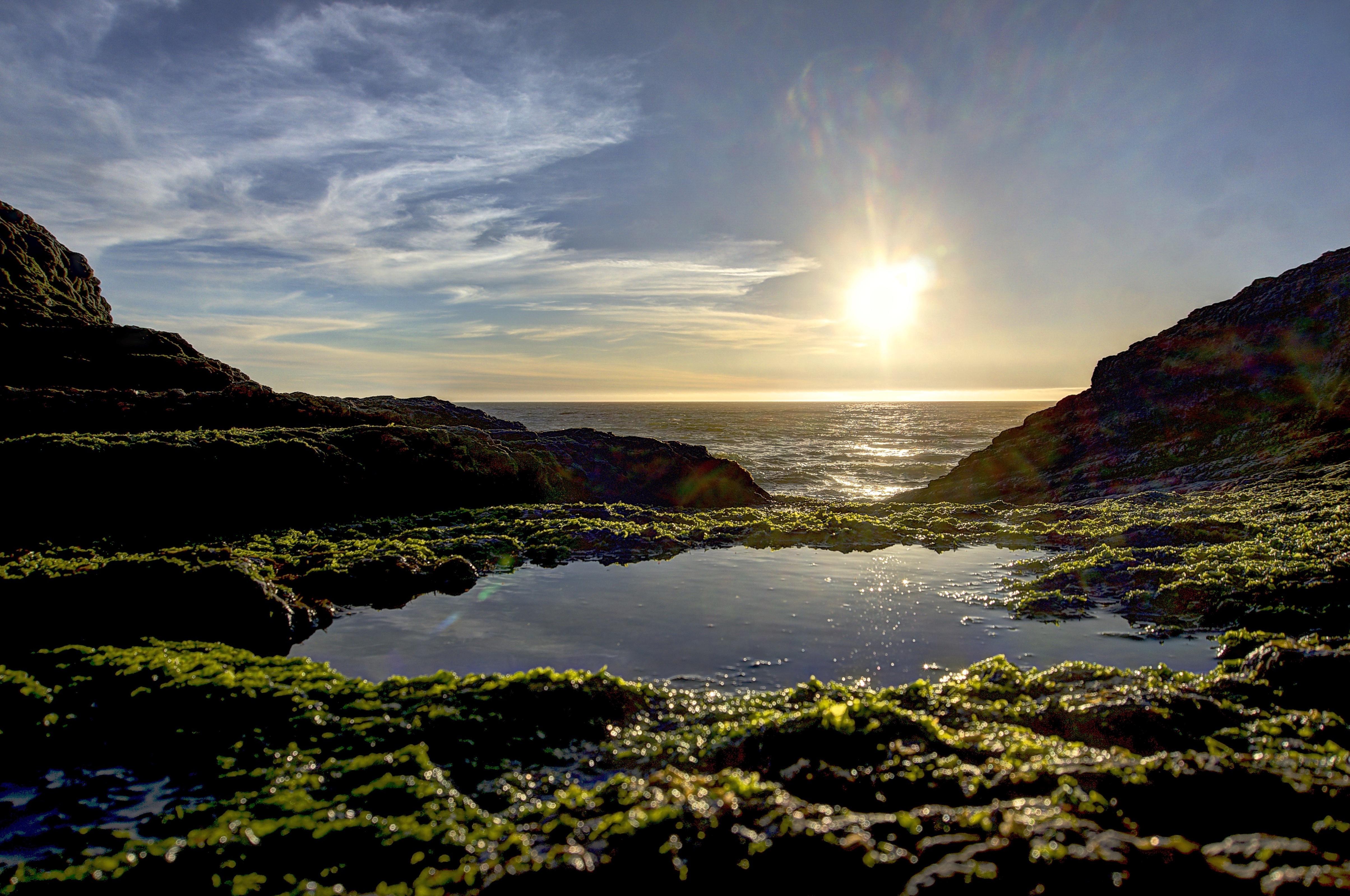 デスクトップ壁紙 サンタクルーズ カリフォルニア パンサービーチ 屋外 水たまり 藻類 モス 湿った 太陽 日没 雲 曇った 3xp 生 Nex6 Selp1650 フォトマティクス Hdr Qualityhdr 高画質写真 海岸 風景 海洋 空 太平洋 パシフィック Fav100
