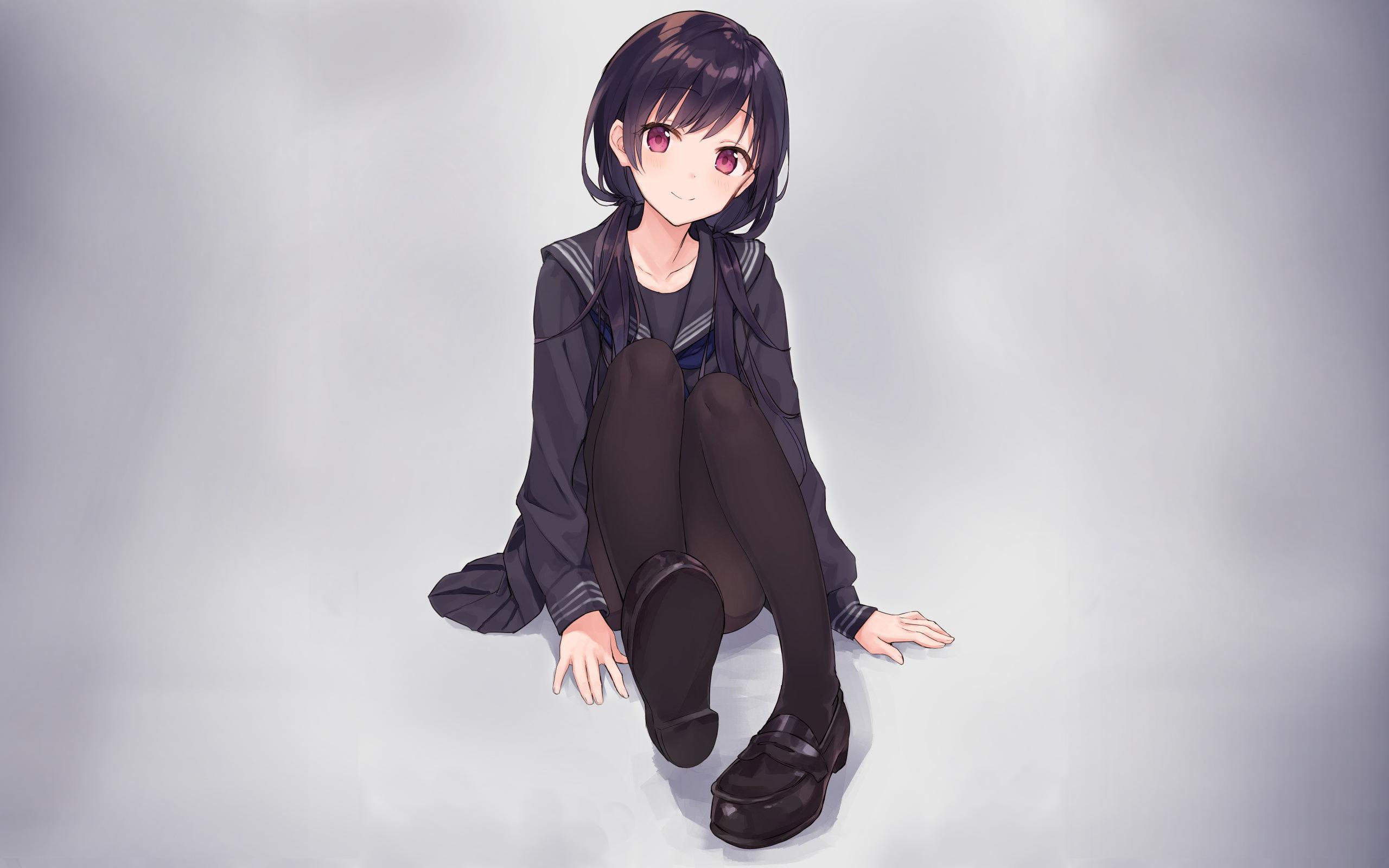 Wallpaper School Uniform Simple Background Black Hair Anime