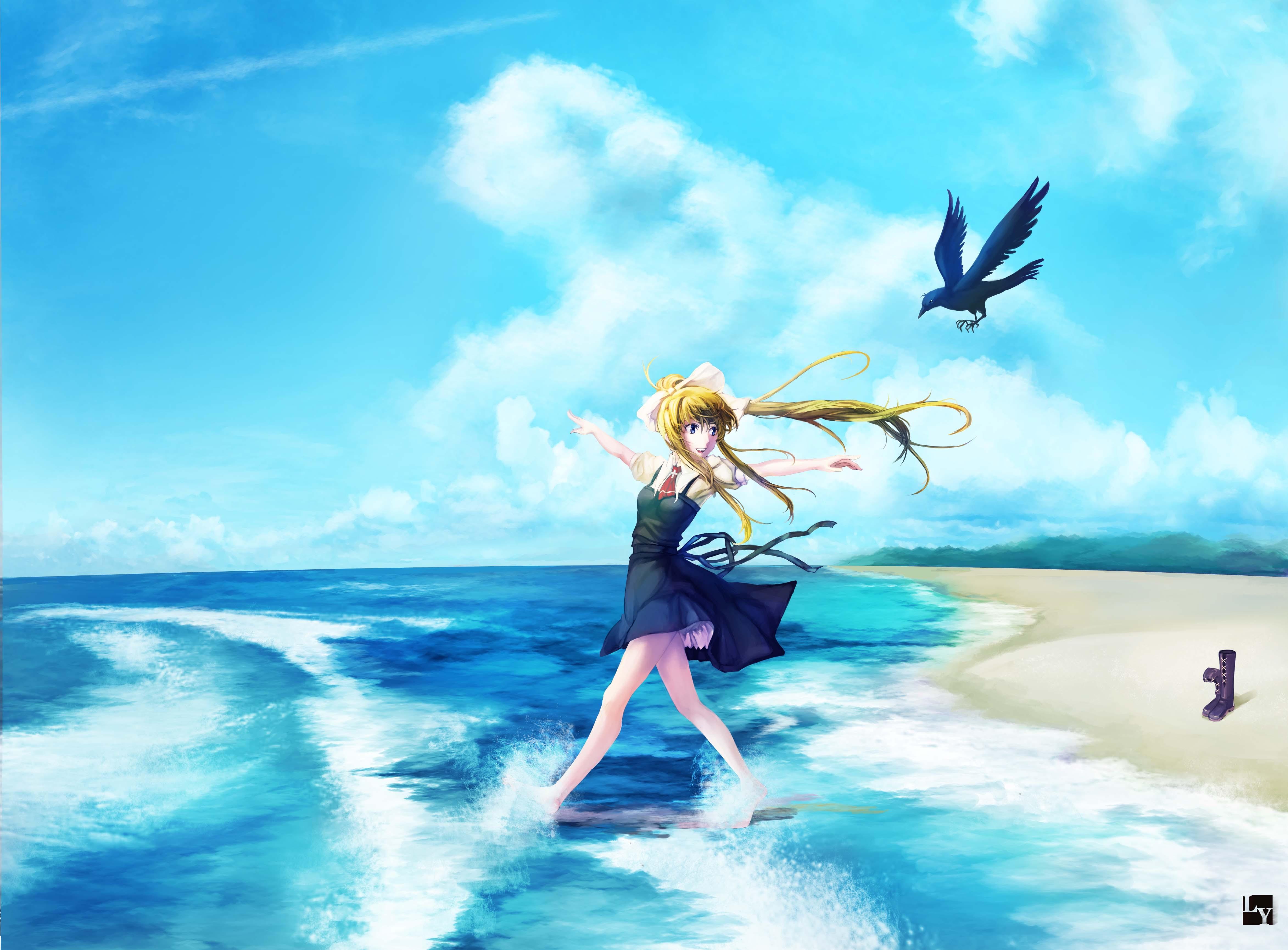 sea anime anime girls sky blue wind Air anime ocean wave surfboard computer wallpaper surfing equipment