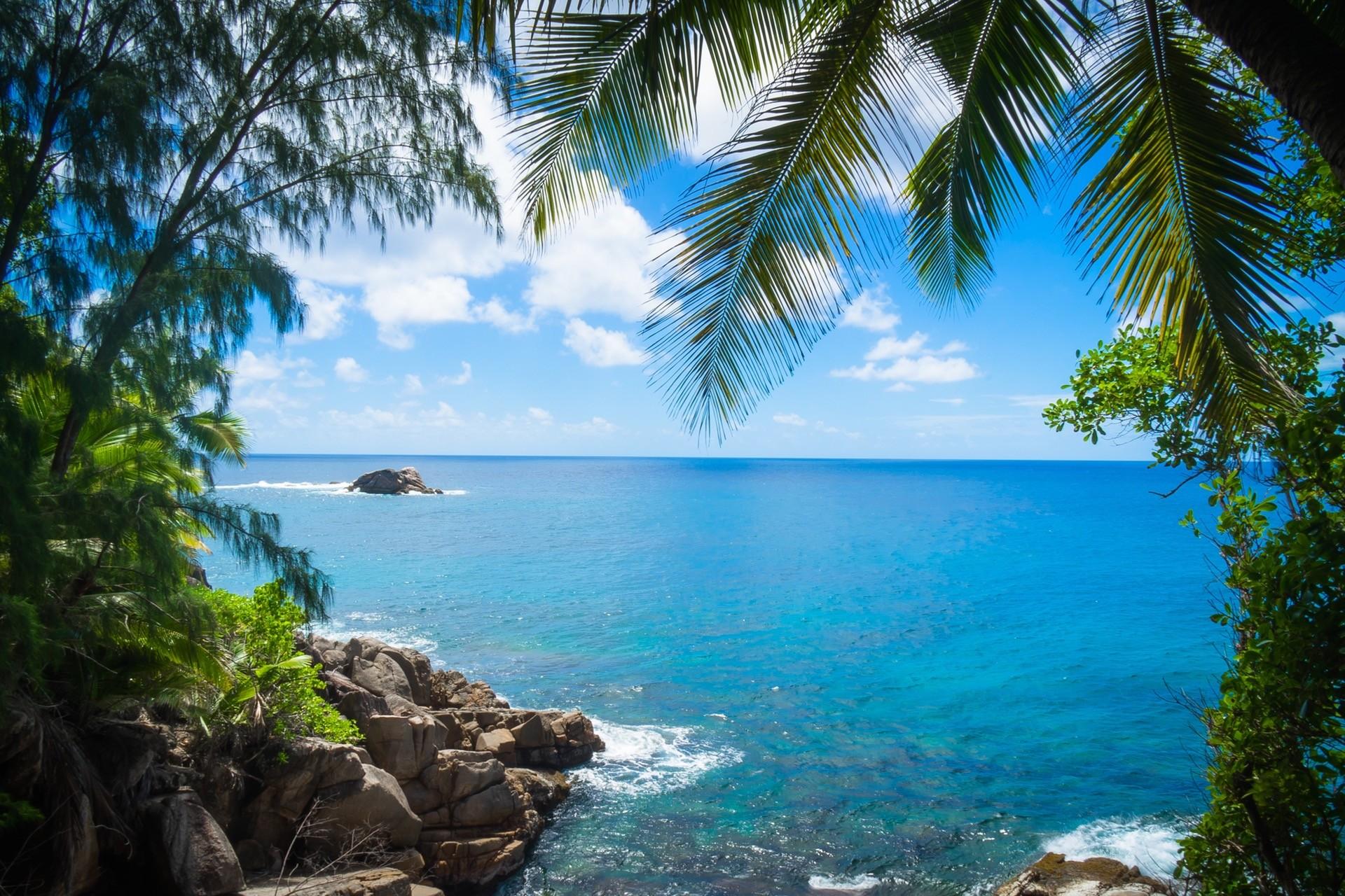 wallpaper sea bay clouds beach coast palm trees clear sky tropical island lagoon. Black Bedroom Furniture Sets. Home Design Ideas