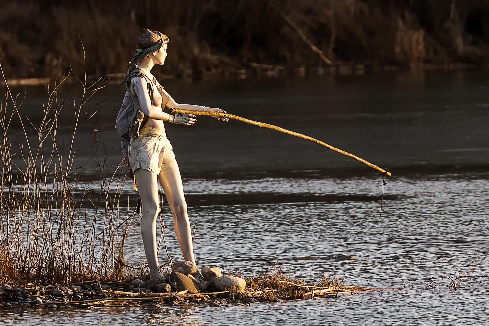 Wallpaper Sea Lake Water Reflection Angel Mask Fish Lost River Statue Alone Topless Boobs Stream Paddle Fisherman Man Rio Nice Lago
