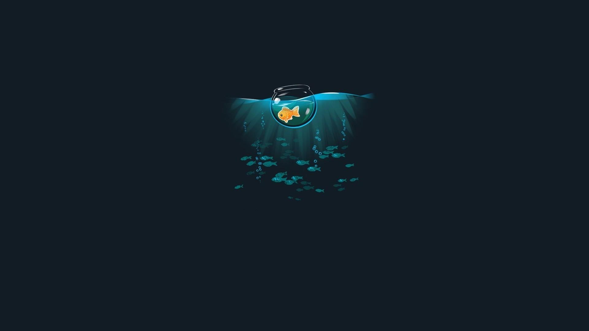 wallpaper : sea, minimalism, artwork, logo, fish, simple, threadless