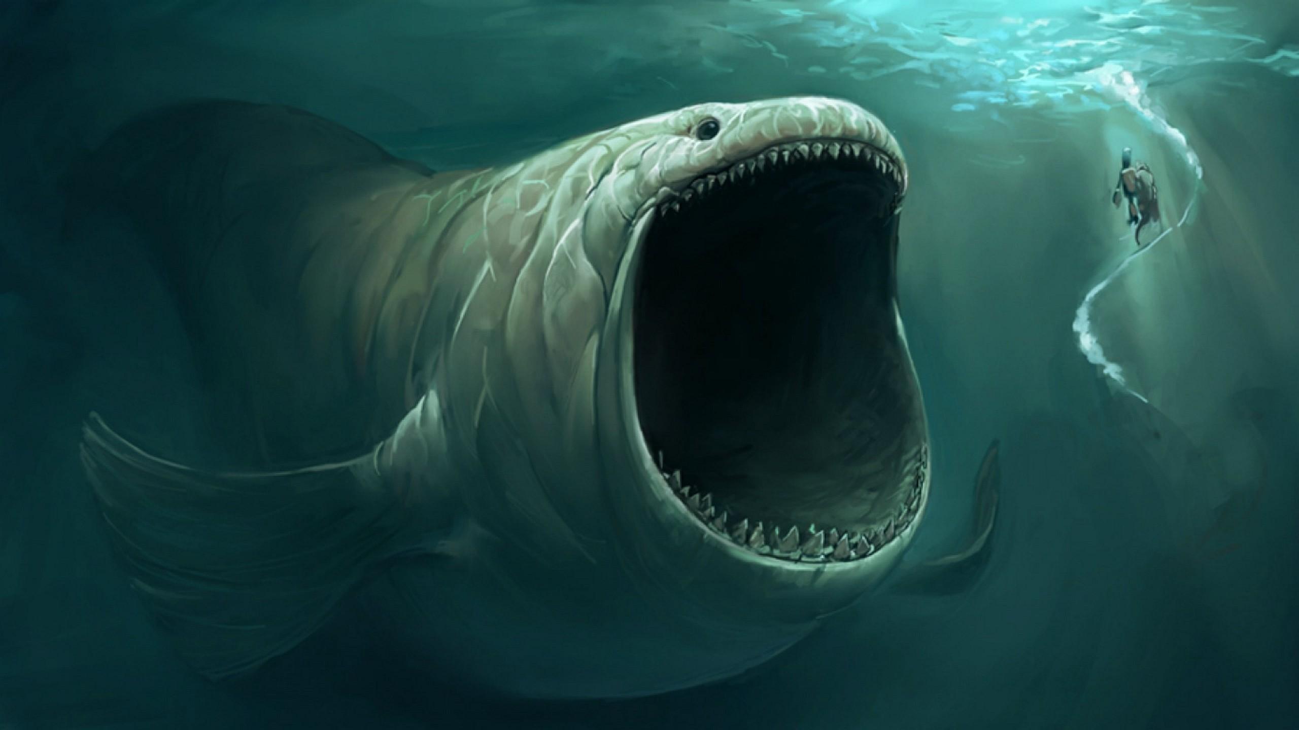 Fond d 39 cran les monstres marins art fantastique - Grand poisson de mer ...