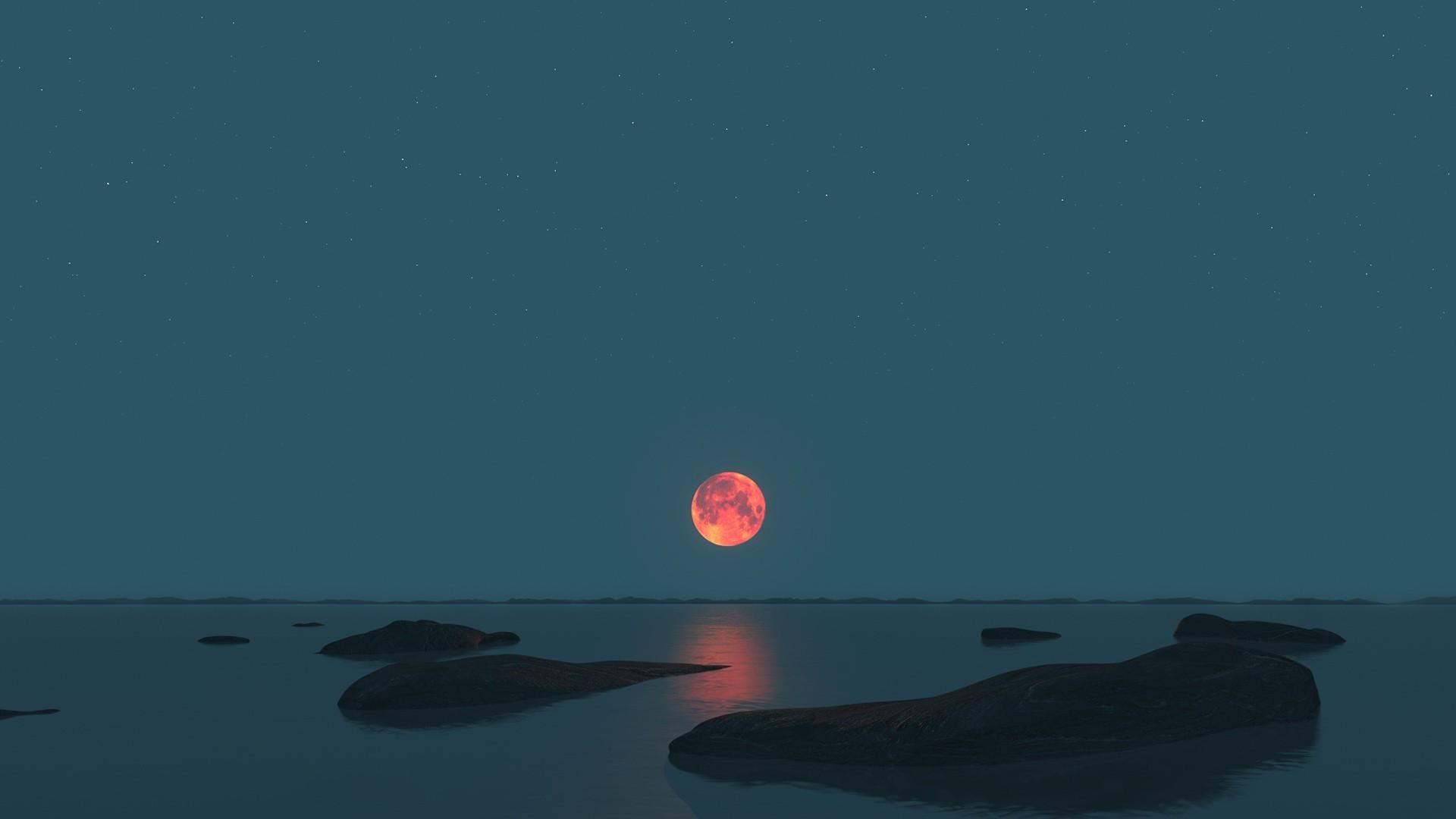 Papel De Parede Mar Noite Ceu Lua Luar Horizonte Atmosfera