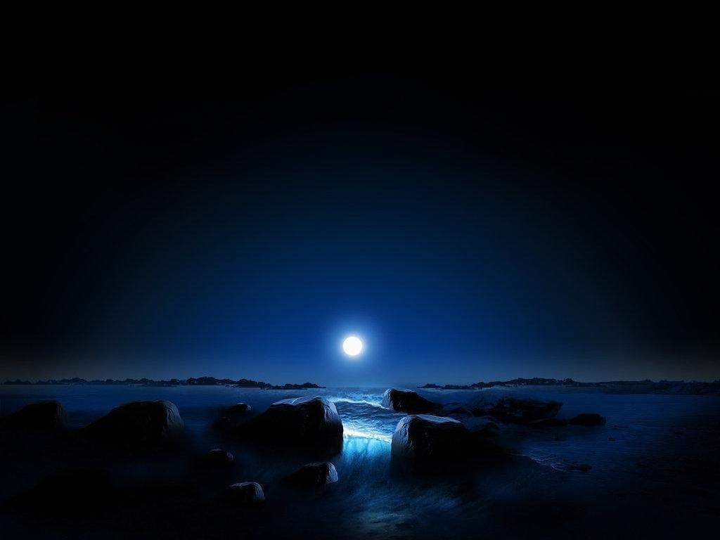 Papel De Parede Mar Noite Agua Rocha Reflexao Ceu De Praia