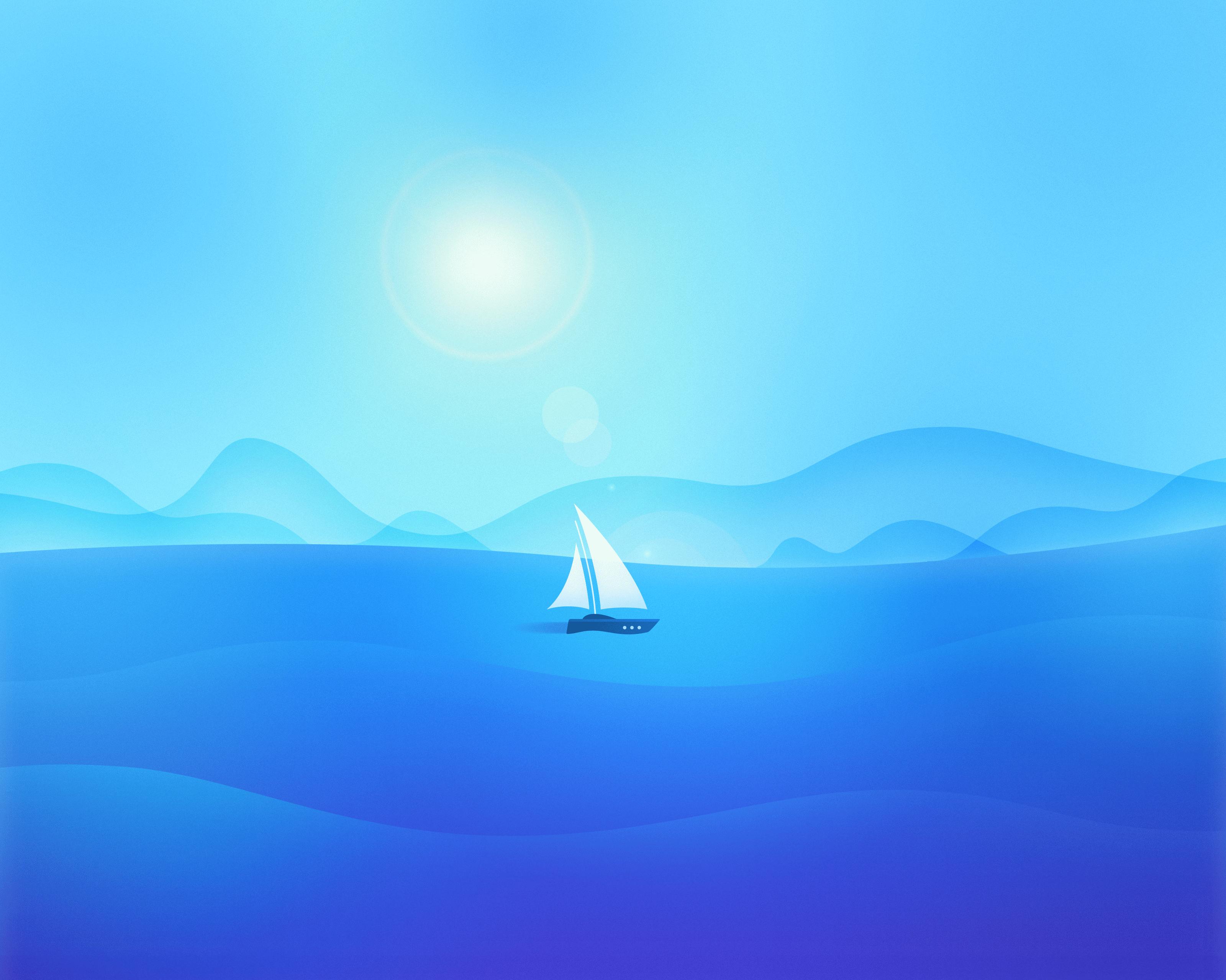 Wallpaper Sea Sailboats Material Minimal Flatdesign